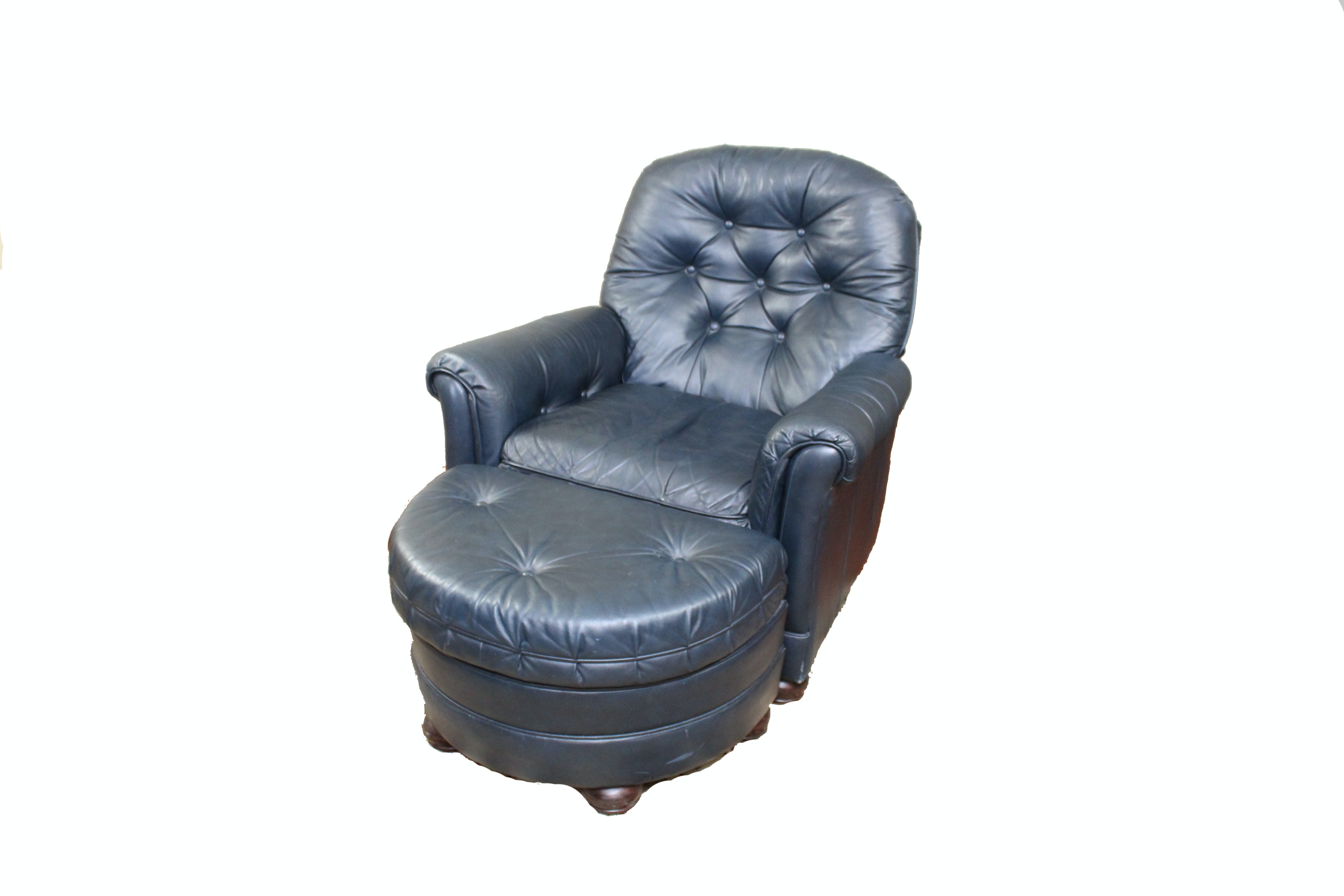 Leather Armchair and Ottoman by Bradington Young