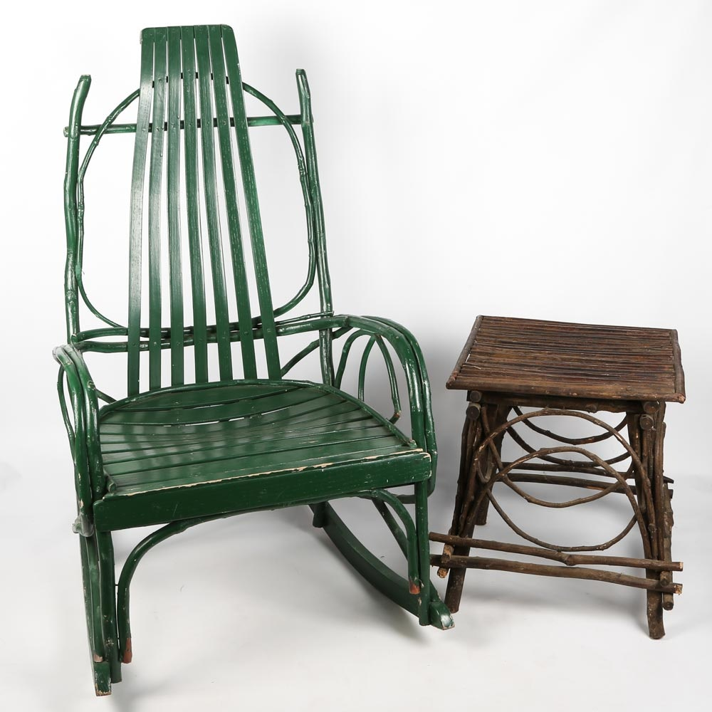 Amish Painted Bentwood Rocking Chair And Adirondack Side Table ...