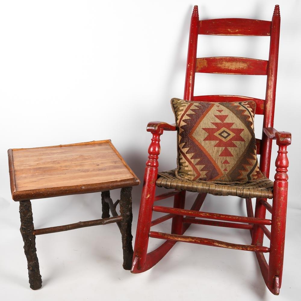 Vintage Painted Ladderback Rocker with Adirondack Side Table