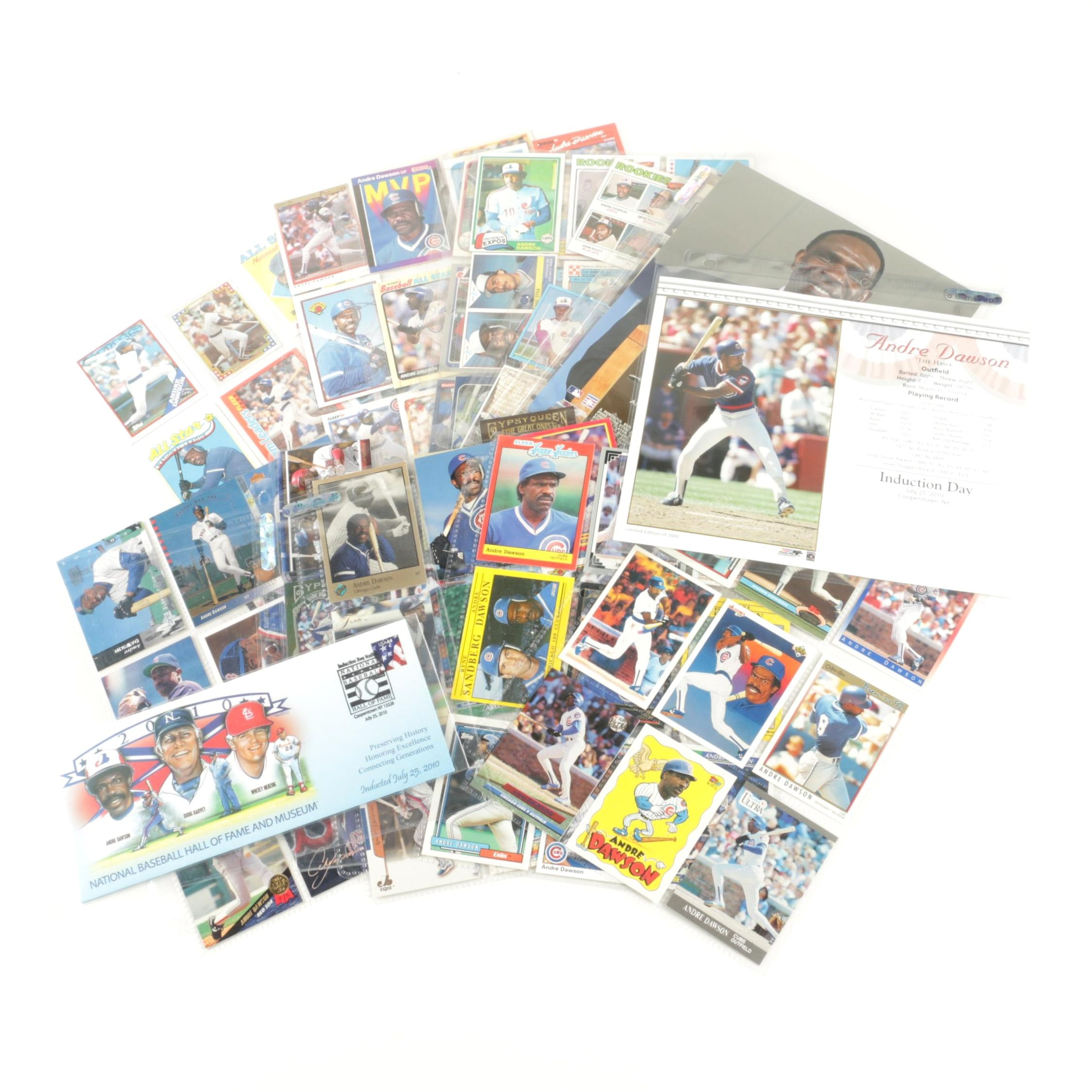 """Collection of Baseball Hall of Famer """"Andre Dawson"""" Cards and Memorabilia"""