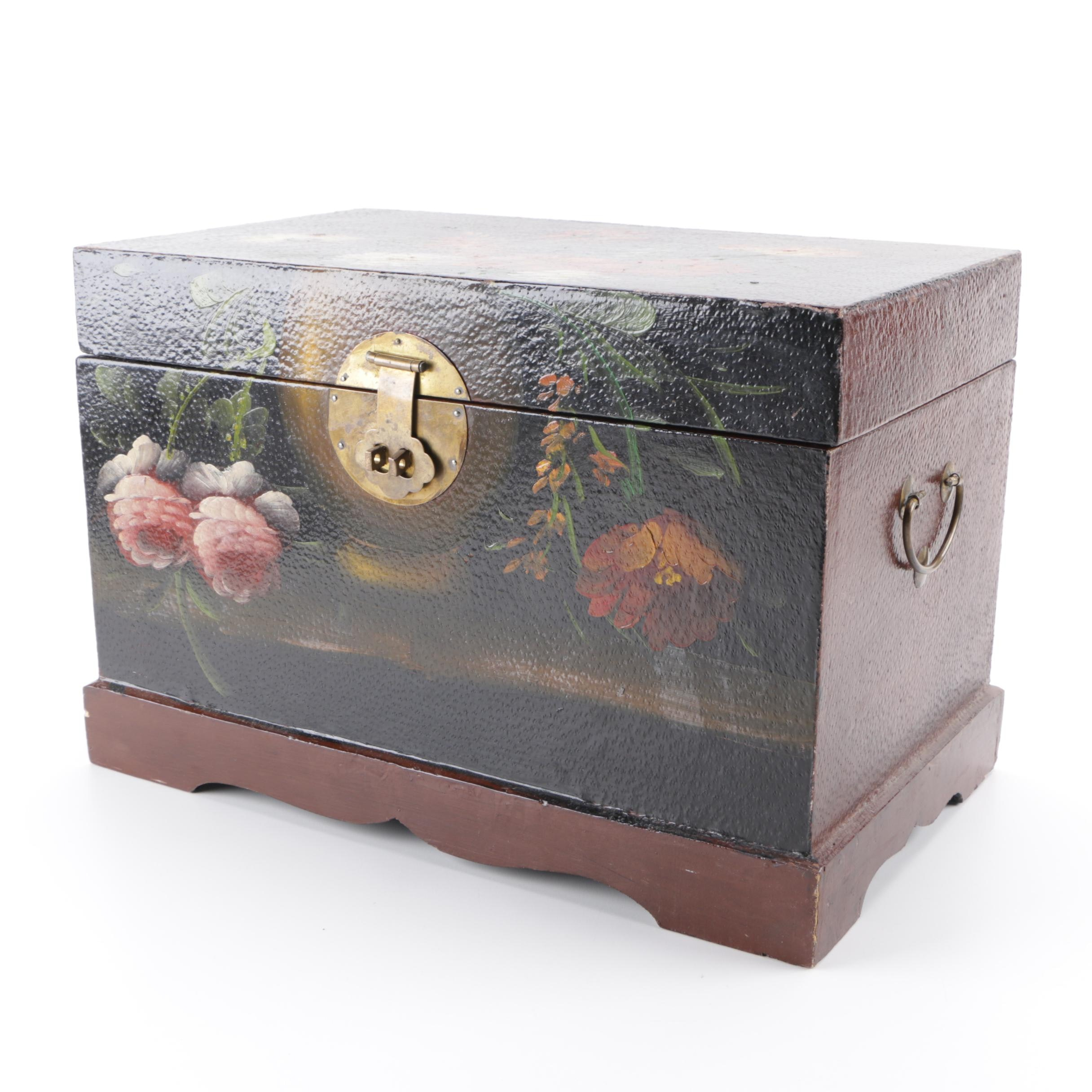 Tole Painted Tabletop Storage Chest