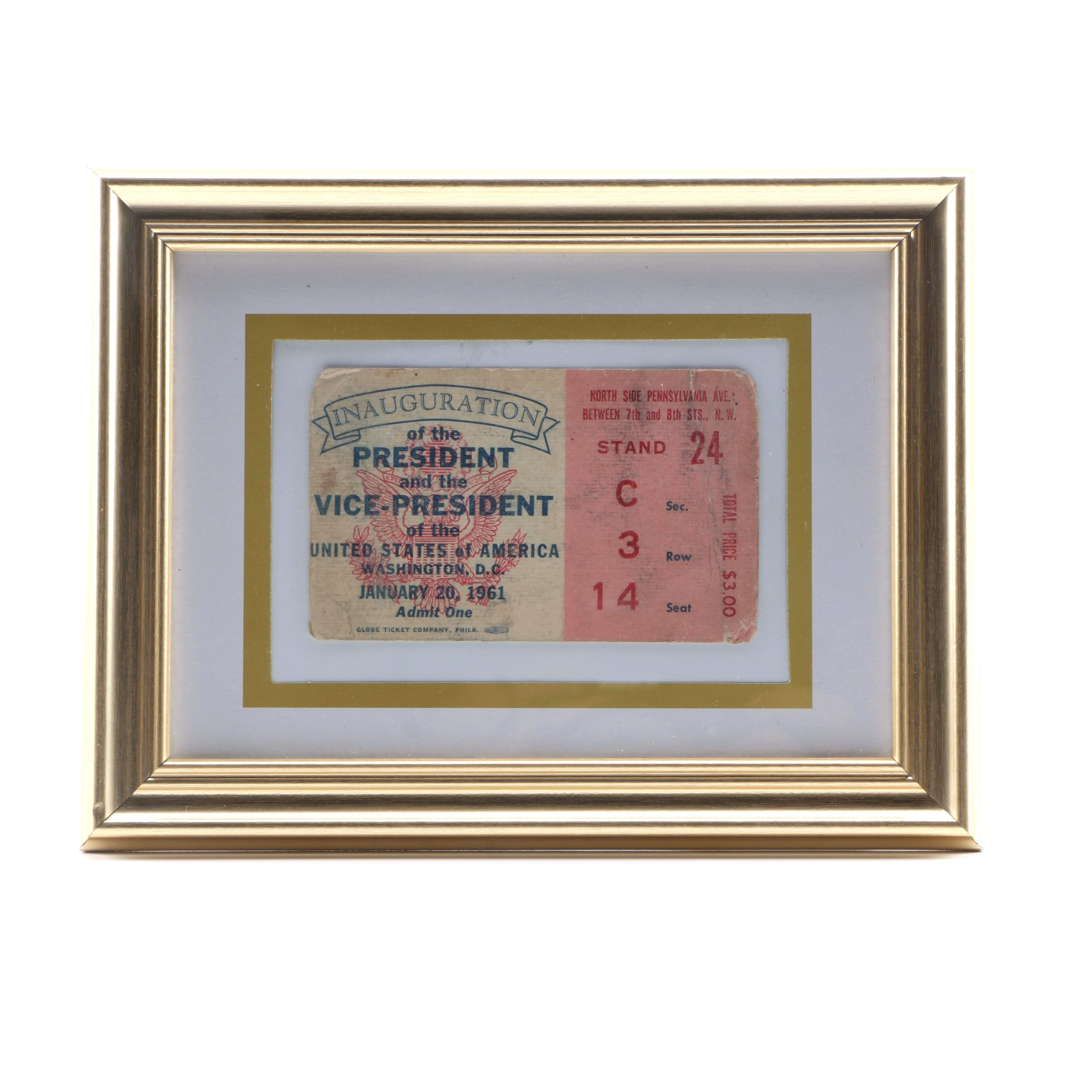 Framed 1961 Presidential Inauguration Ticket