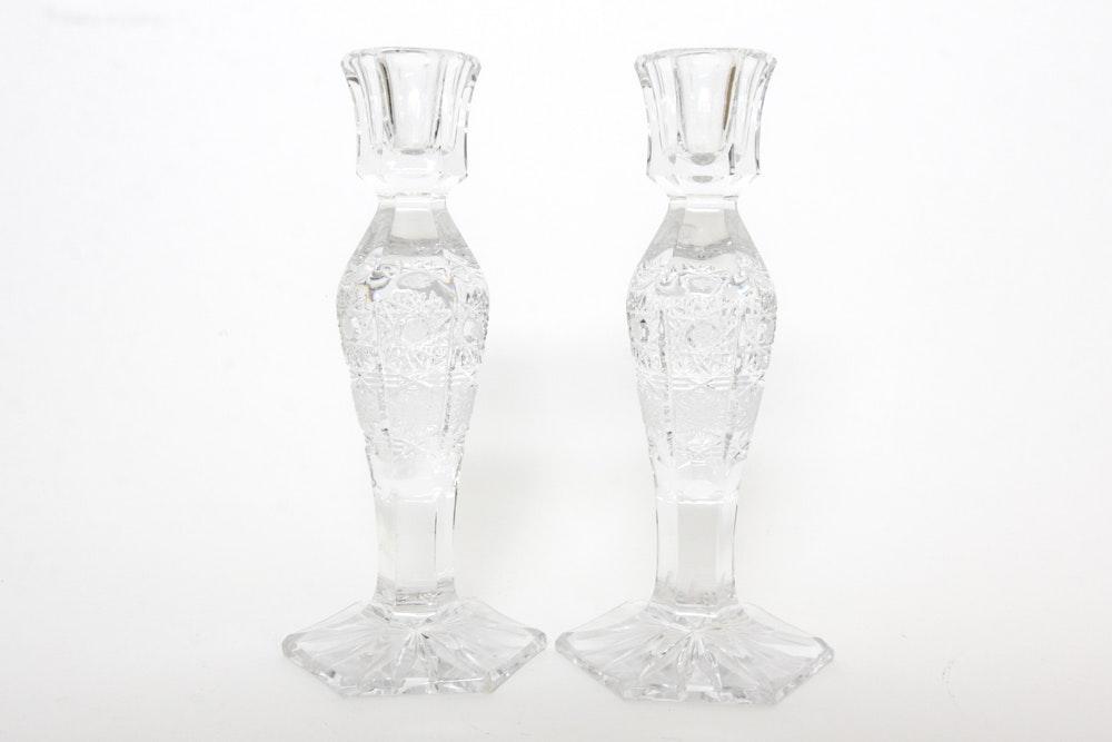 Pair of Bohemia Crystal Czech Candlesticks