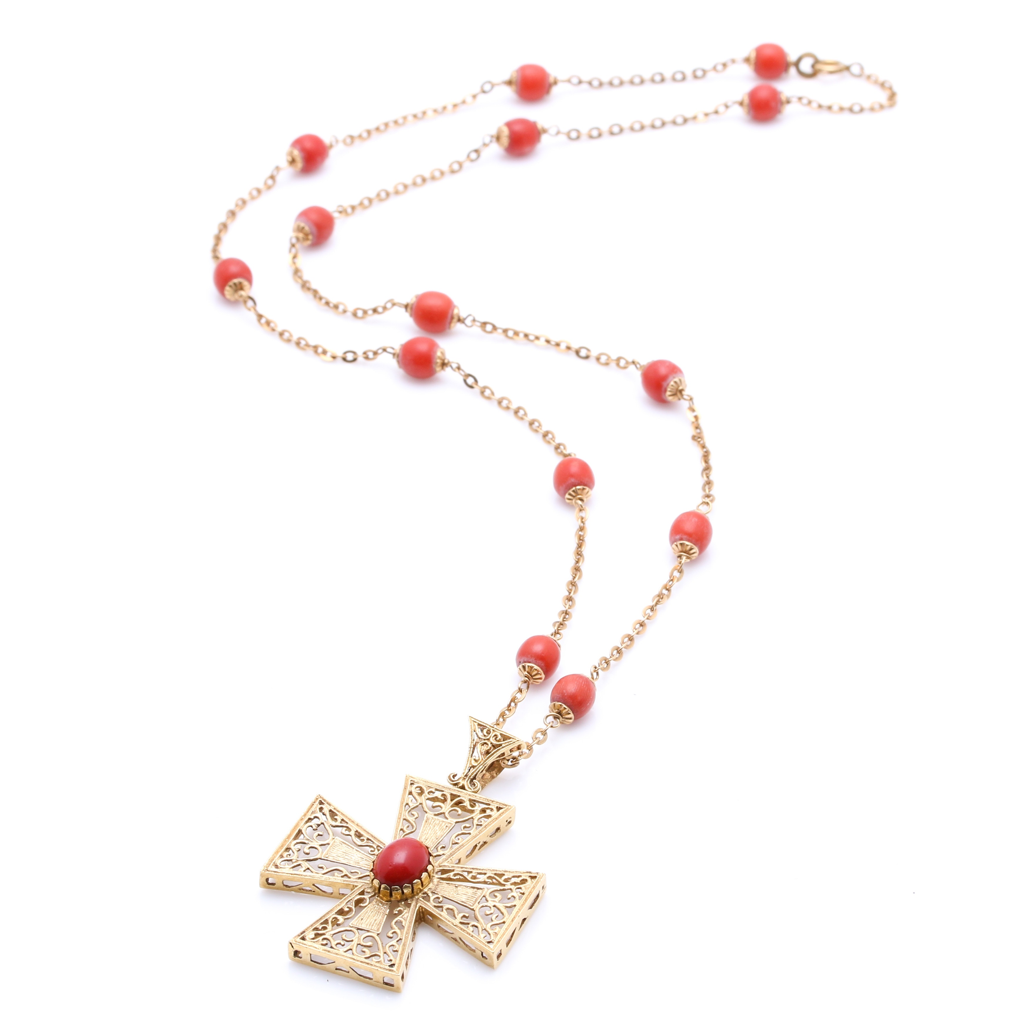 18K Yellow Gold Coral Bead Necklace with a Filigree Cruciform Pendant