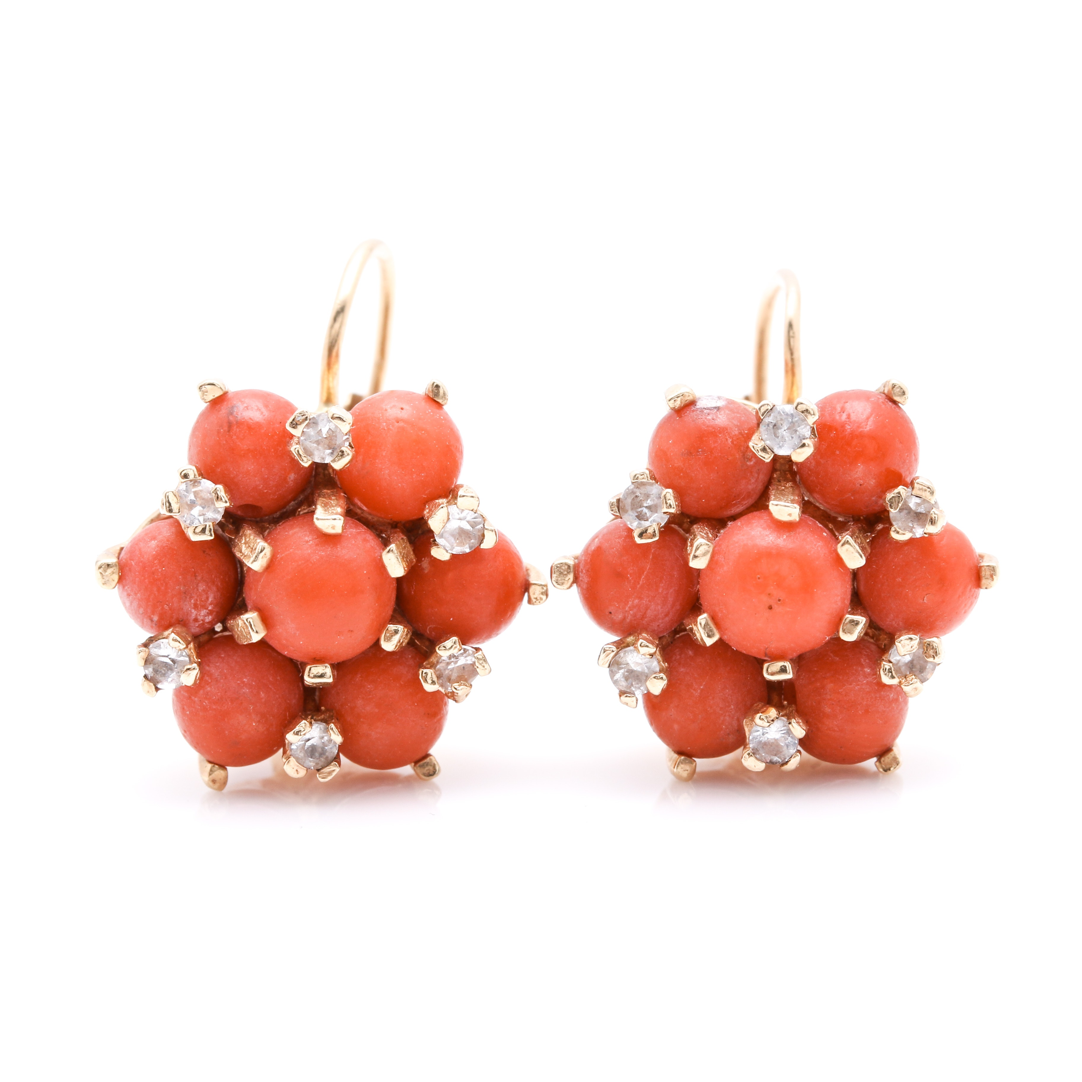 14K Yellow Gold Coral and Spinel Earrings