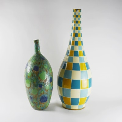Two Aqua Patterned Pottery Vases