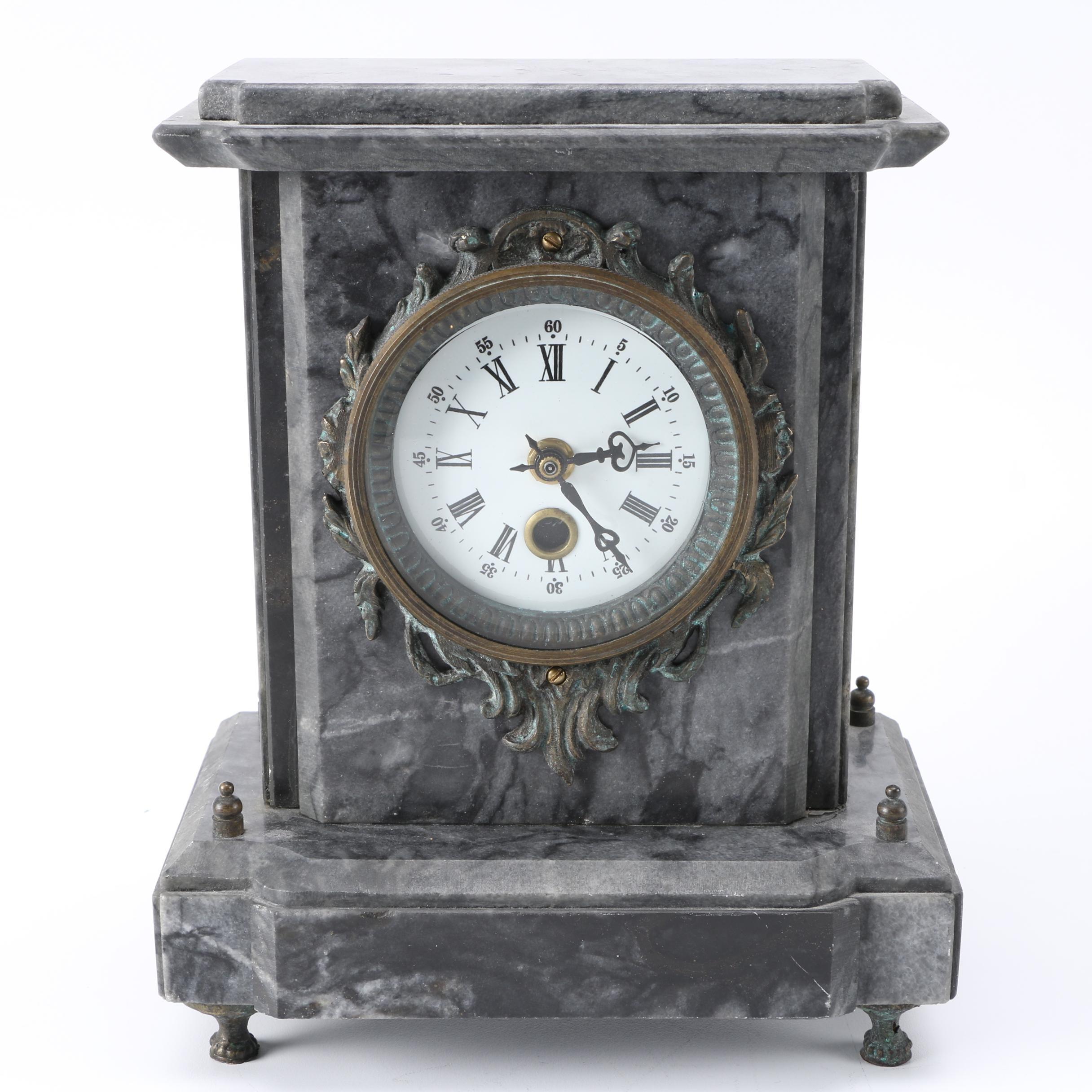 Gray Steel Framed Mantel Clock