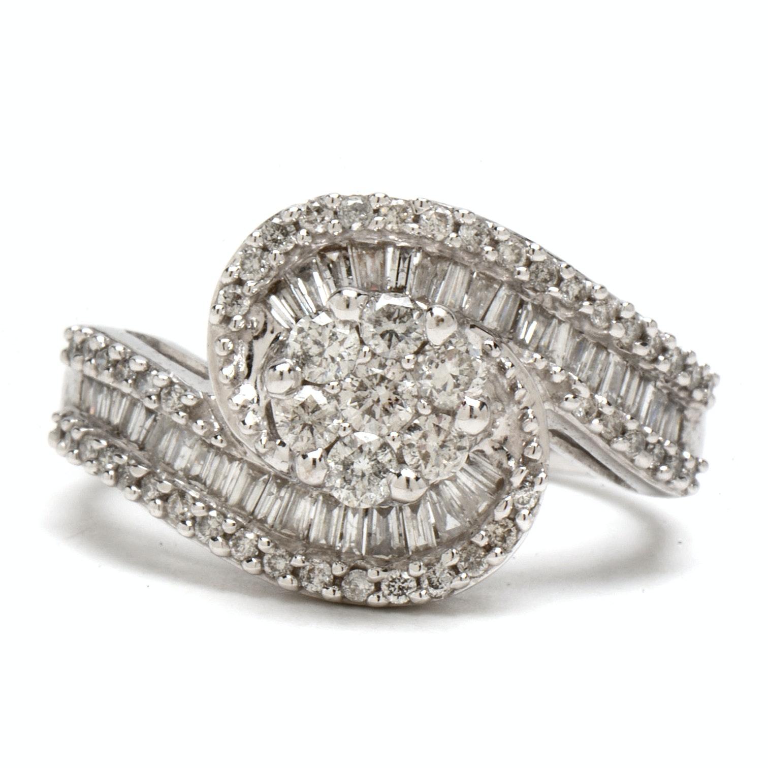 14K White Gold Diamond Swirl Cluster Statement Ring