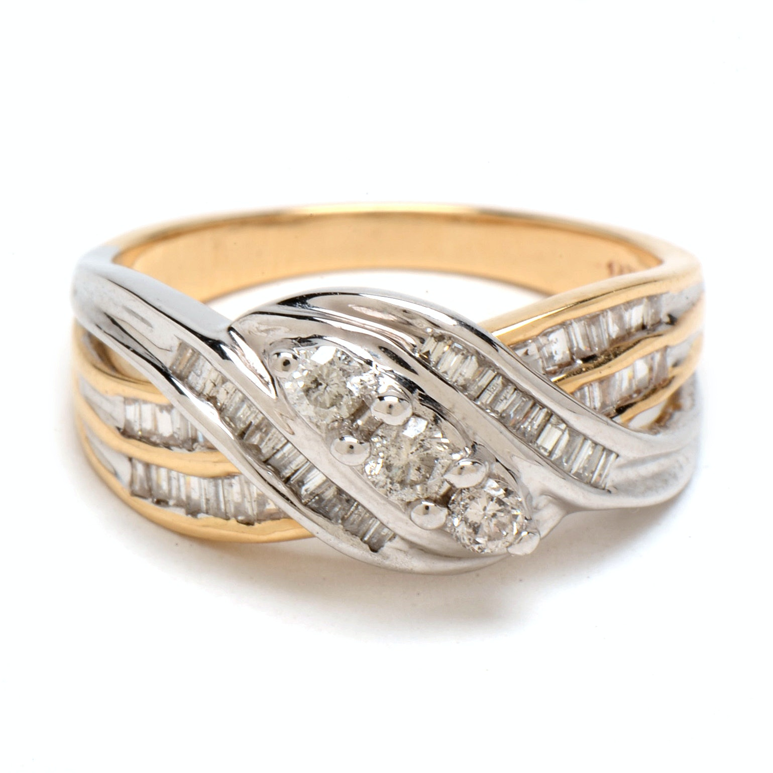 14K Yellow and White Gold Diamond Knot Ring