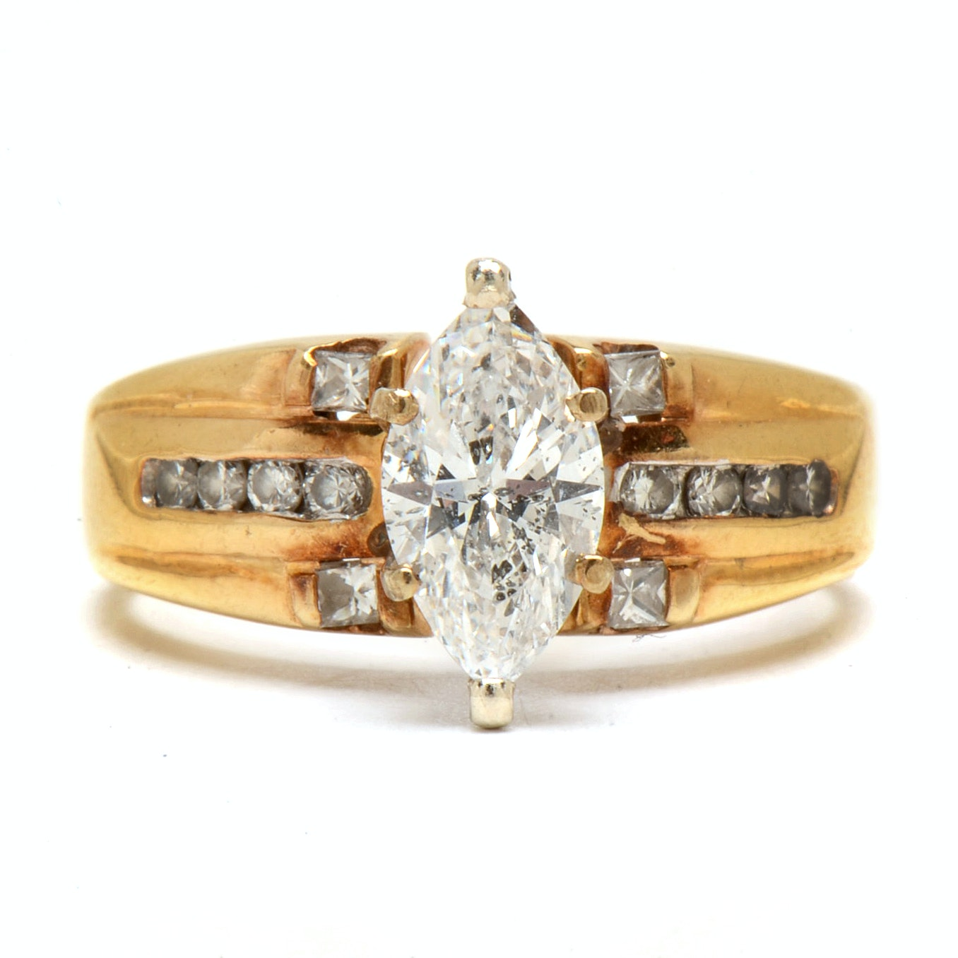 14K Yellow Gold 1.30 CTW Diamond Ring
