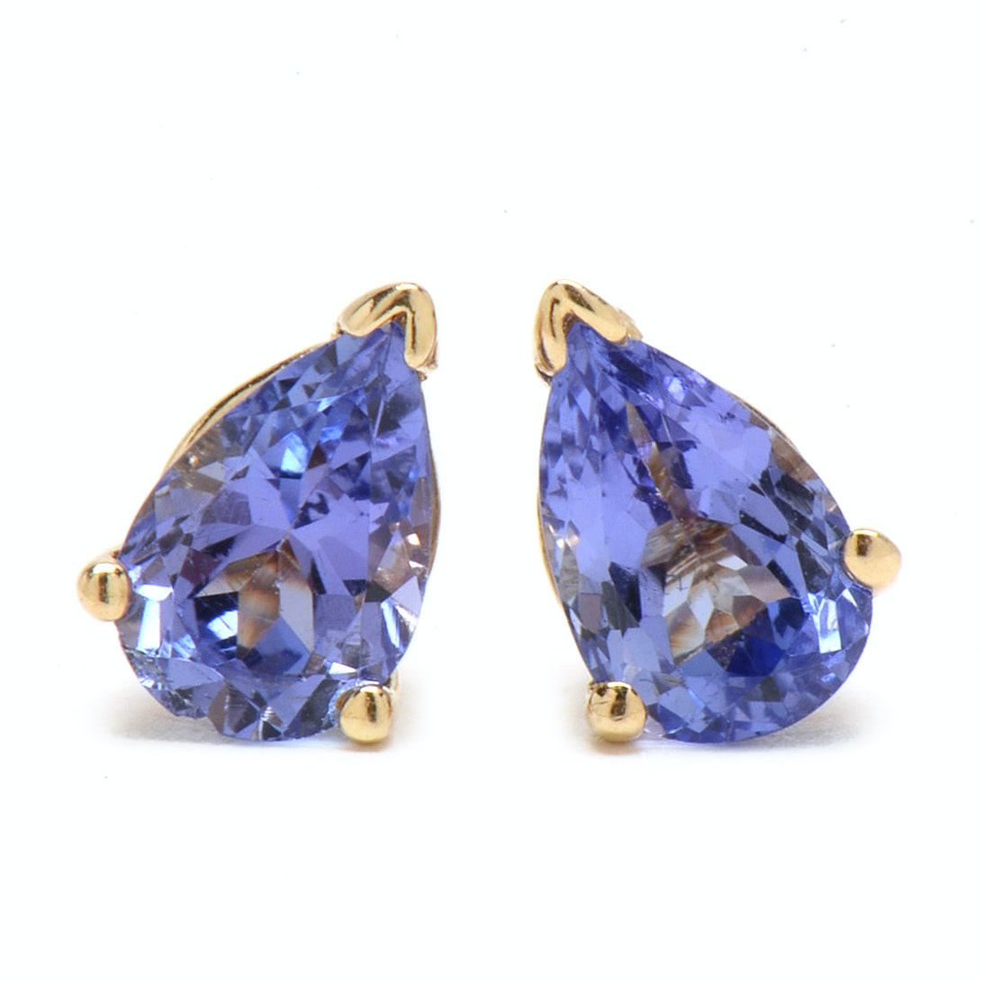 Pair of 14K Yellow Gold Natural Tanzanite Stud Earrings