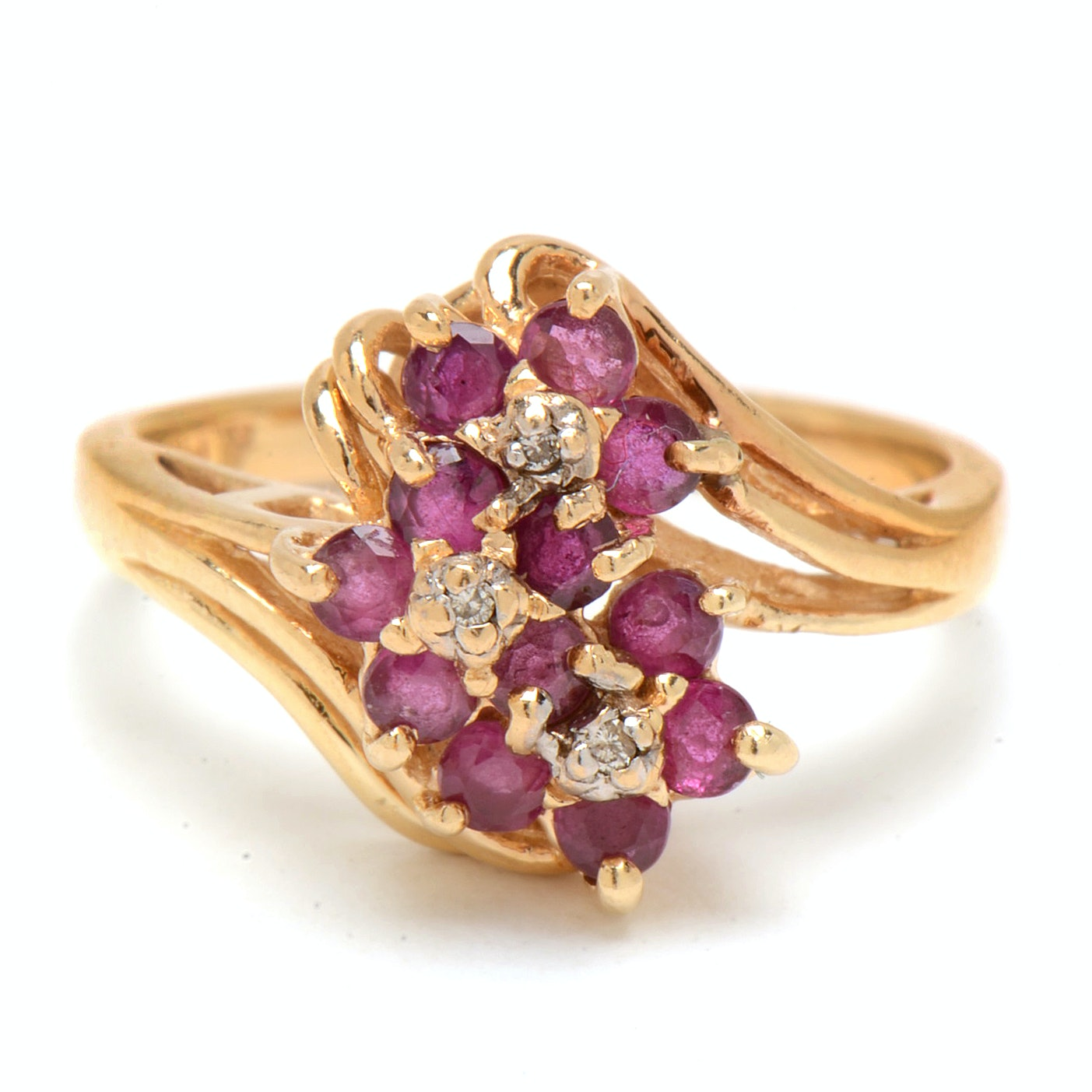 14K Yellow Gold Natural Ruby Diamond Floral Cluster Ring