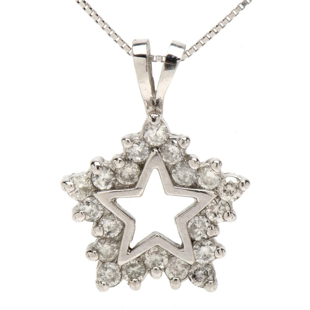 Platinum Diamond Star Pendant Necklace