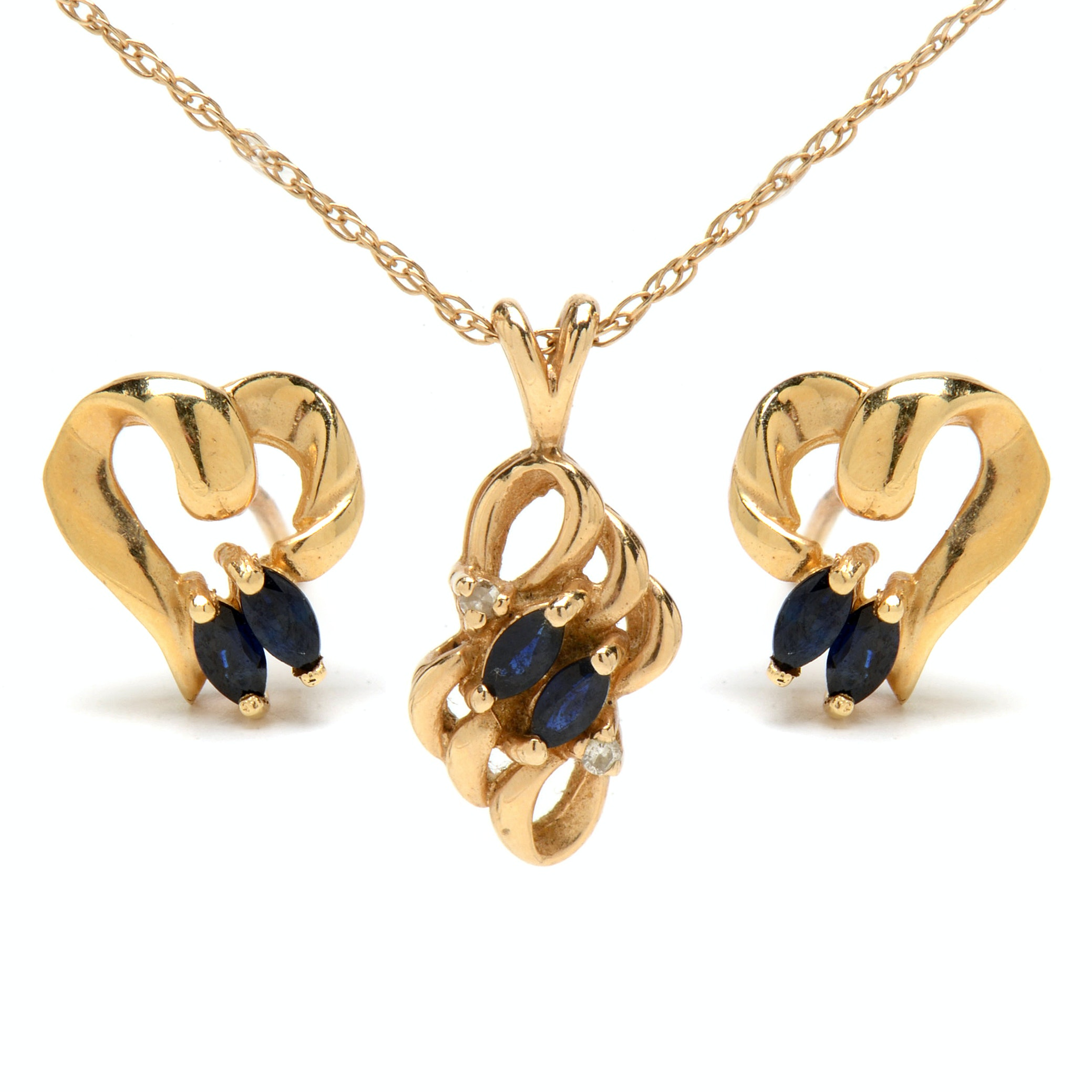 14K Yellow Gold Natural Blue Sapphire Diamond Necklace Earring Set