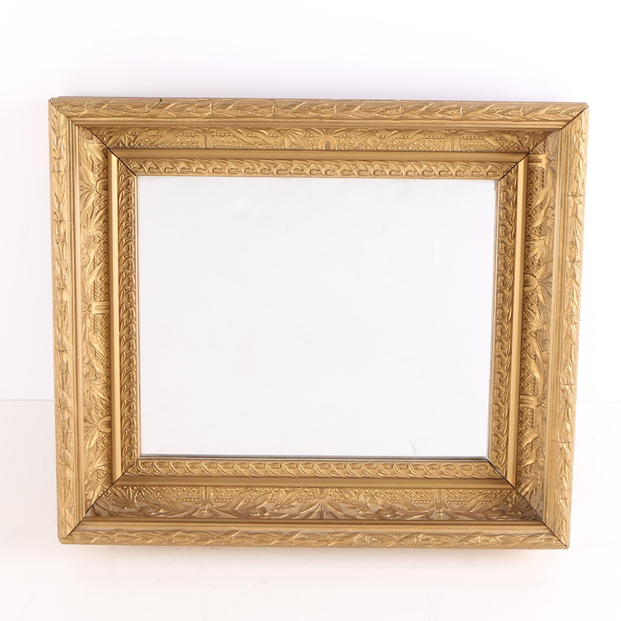 Wall Mirror in Gold Tone Wood Frame