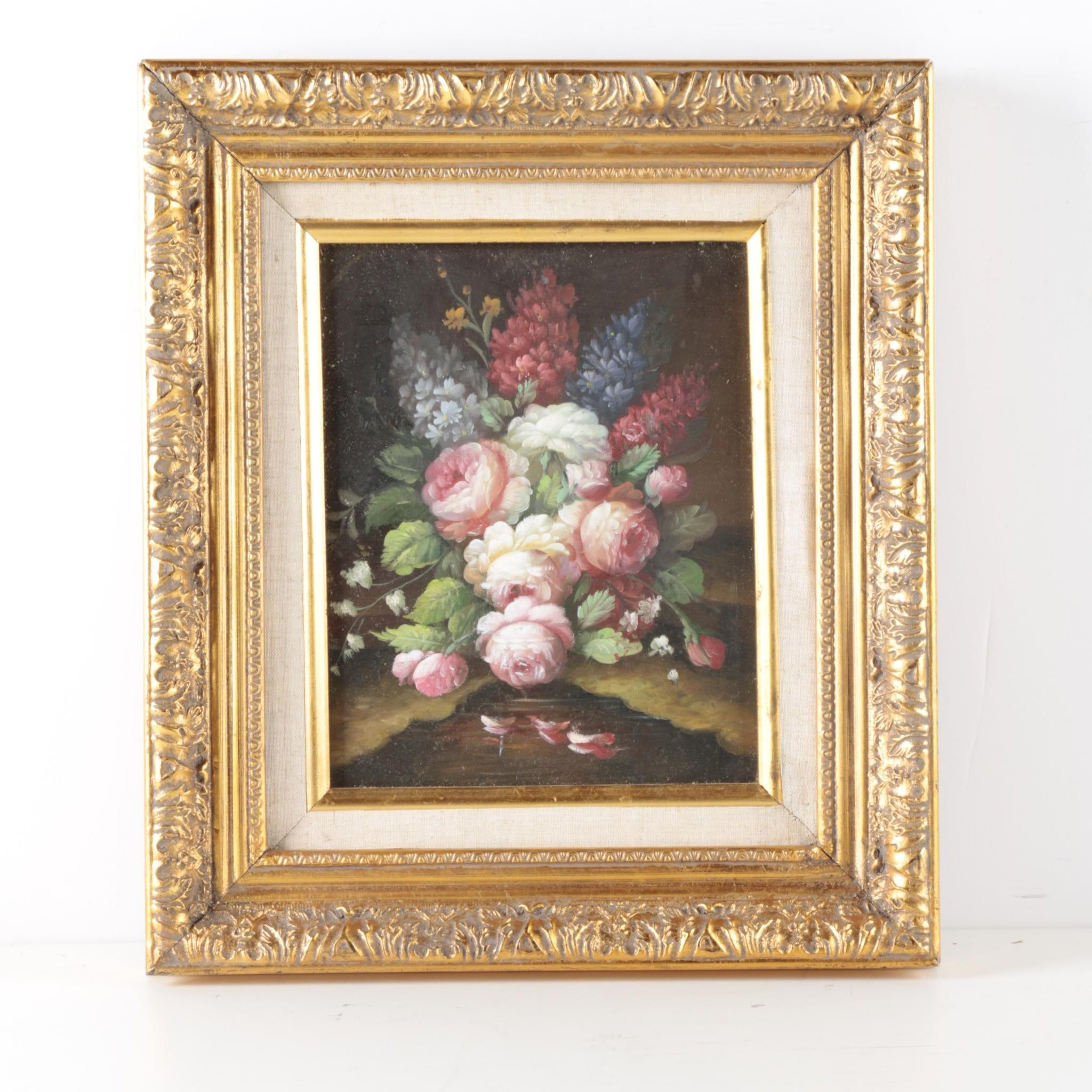 Framed Oil Painting on Canvas of Floral Still Life