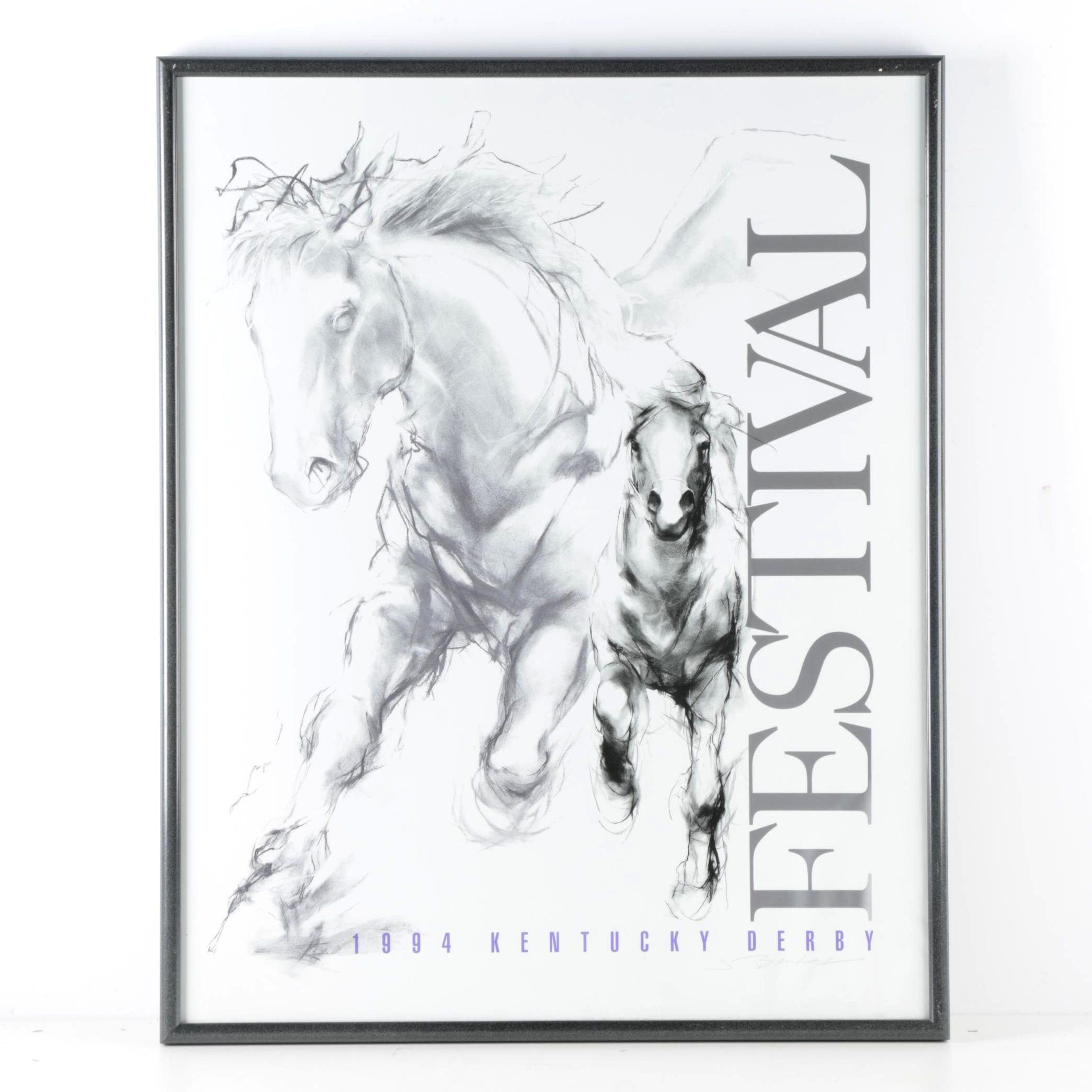 Jeaneen Barnhart and Doreen Barnhart DeHart Offset Lithograph Poster for the 1994 Kentucky Derby Festival