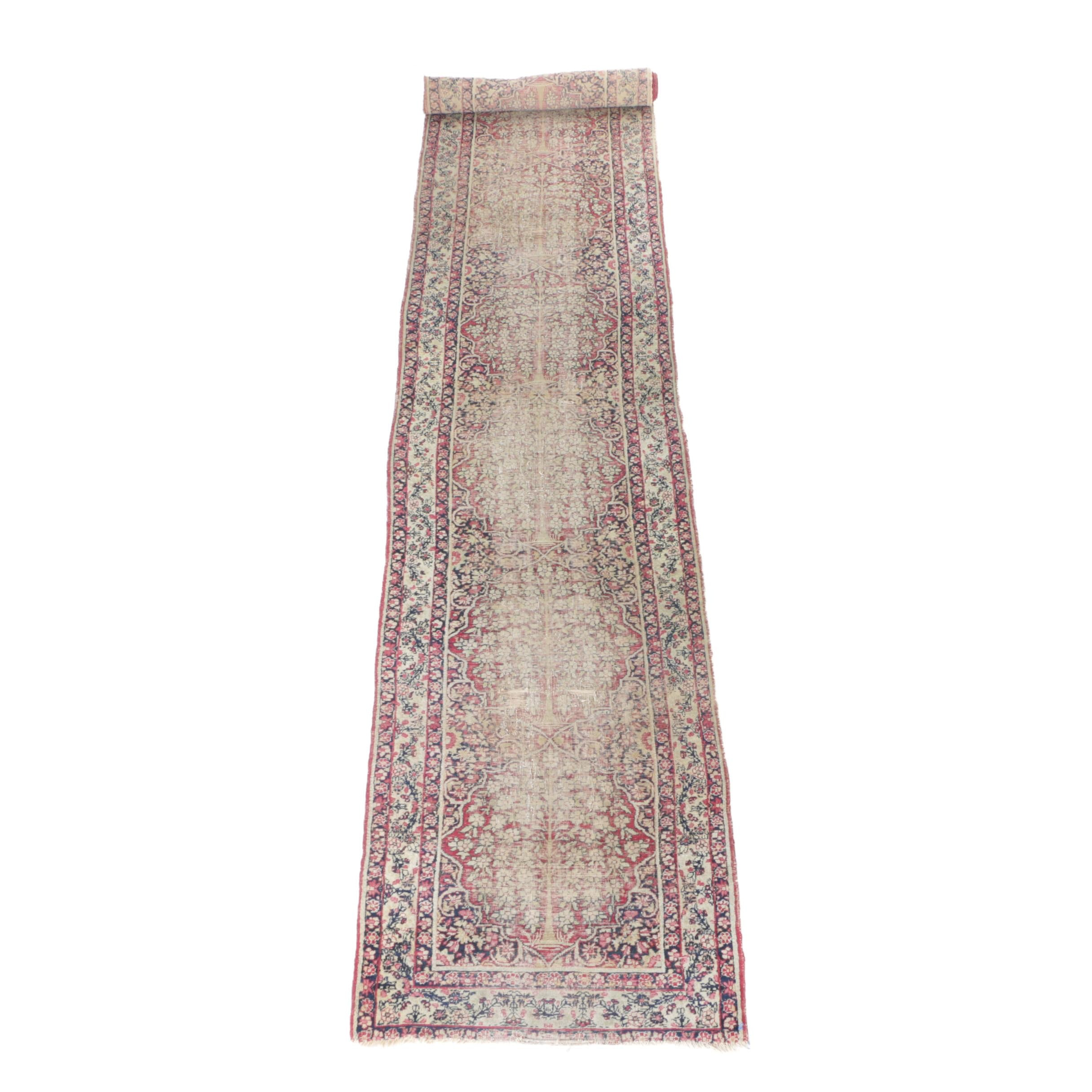 Antique Hand-Knotted Persian Kerman Carpet Runner
