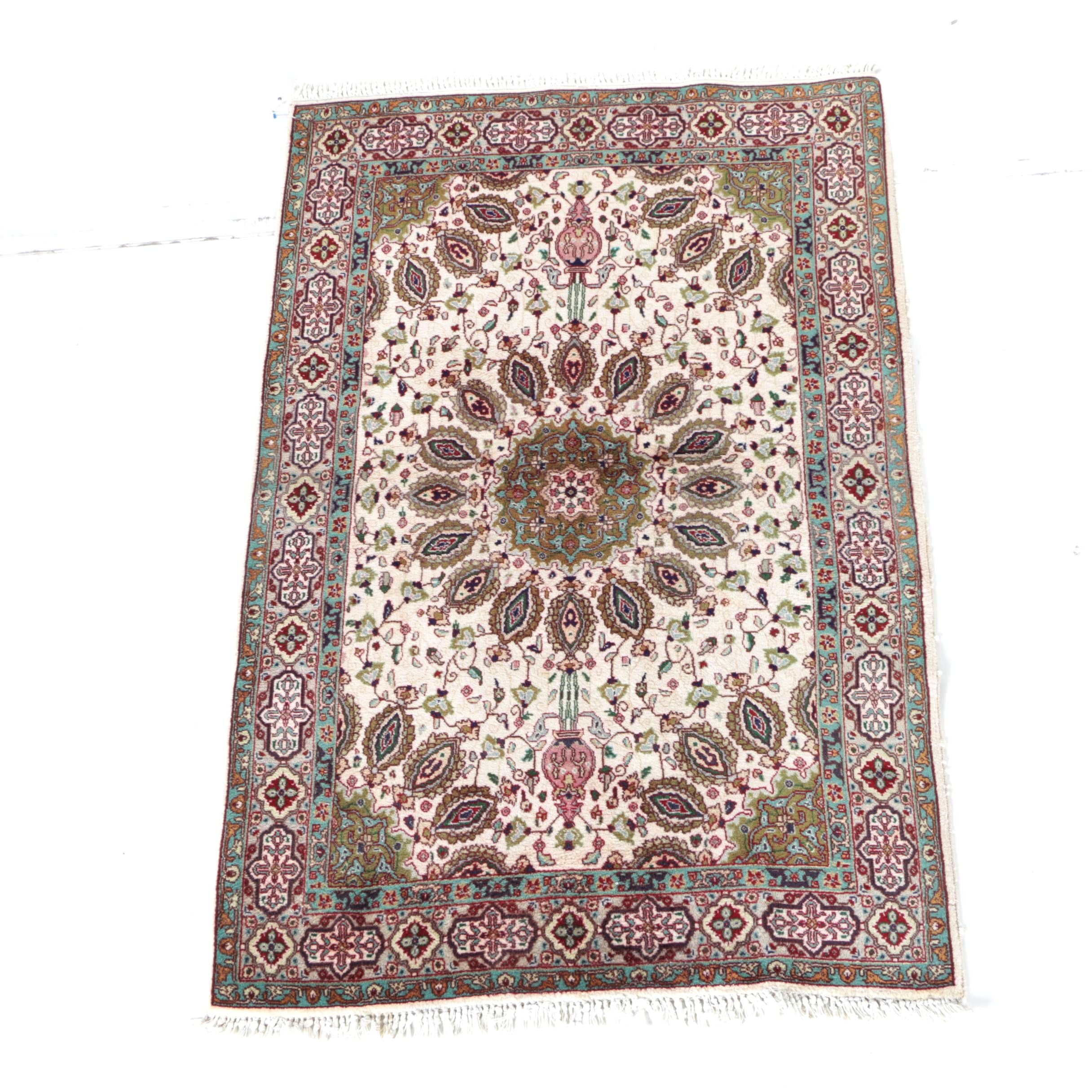 Hand-Knotted Tabriz Wool Accent Rug