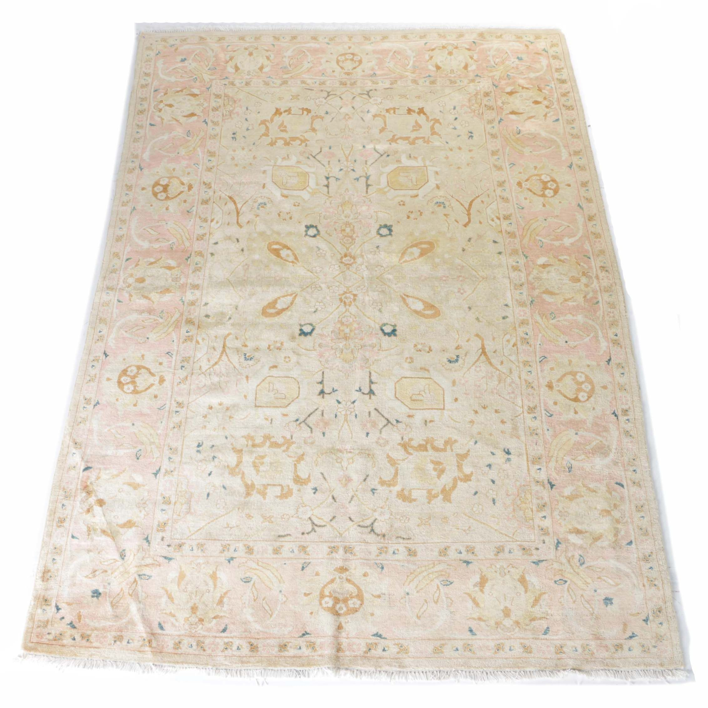 Hand-Knotted Peshawar Area Rug