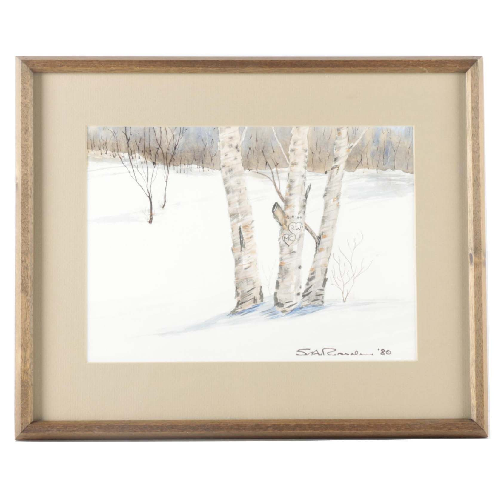 Original Signed Winterscape Watercolor Painting