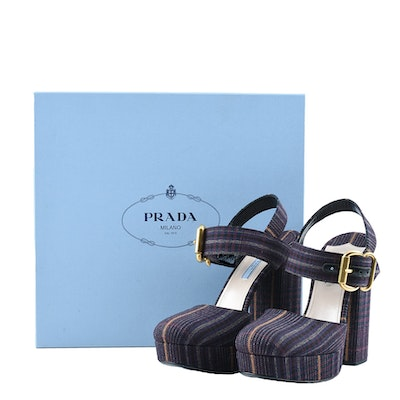 Prada Ankle Strap Platform Shoes in Bordeaux Plaid