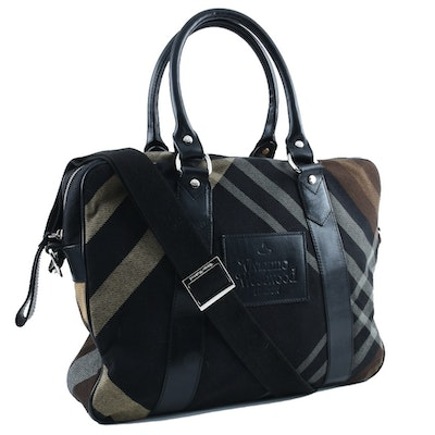 Vivienne Westwood Black and Tan Tartan Laptop Bag