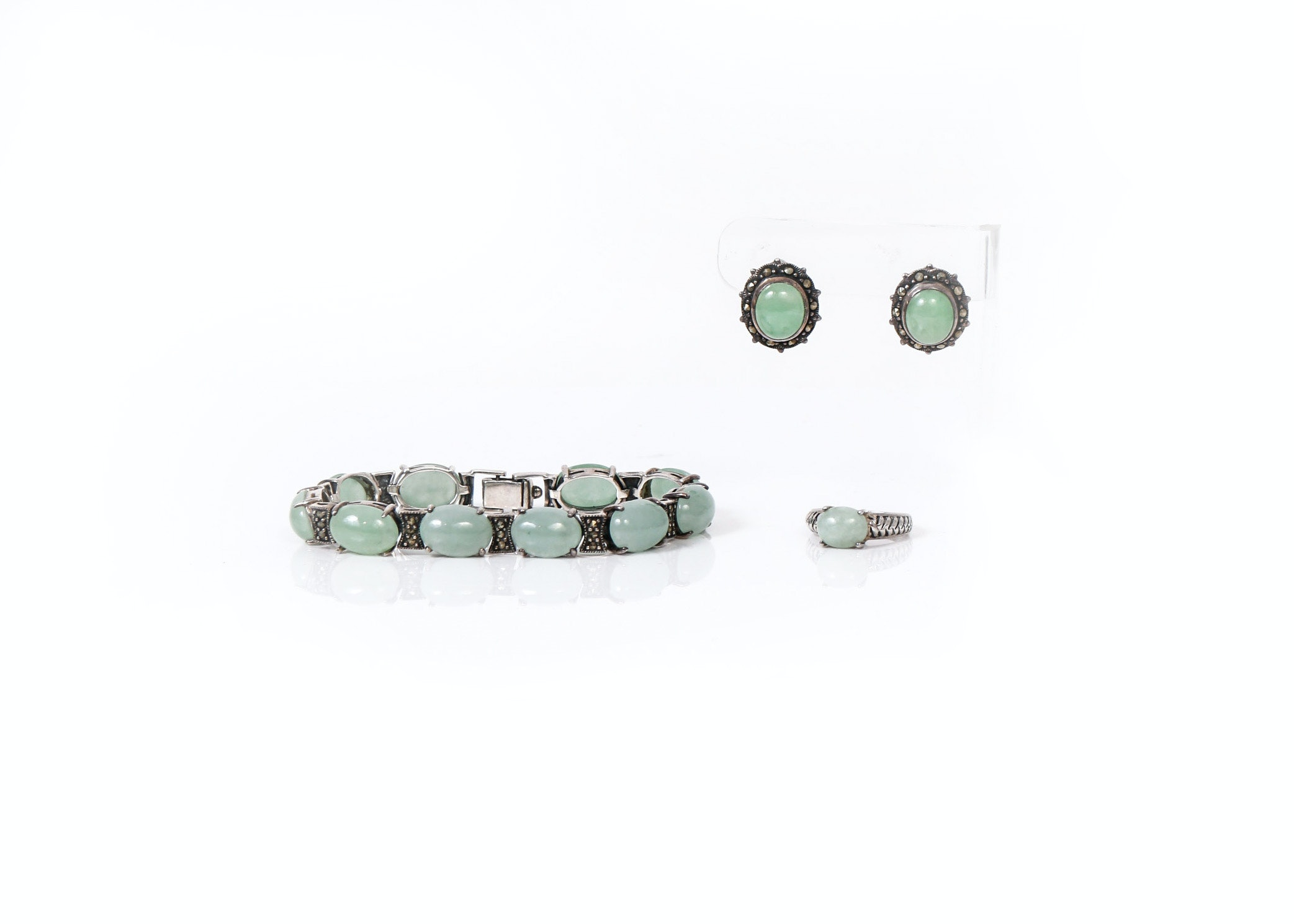 Sterling Silver and Jade Bracelet, Ring, and Earring Set