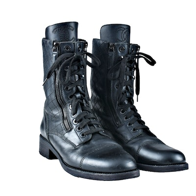 Pair of Chanel Black Leather Quilted Lace Up Combat Boots, Ladies