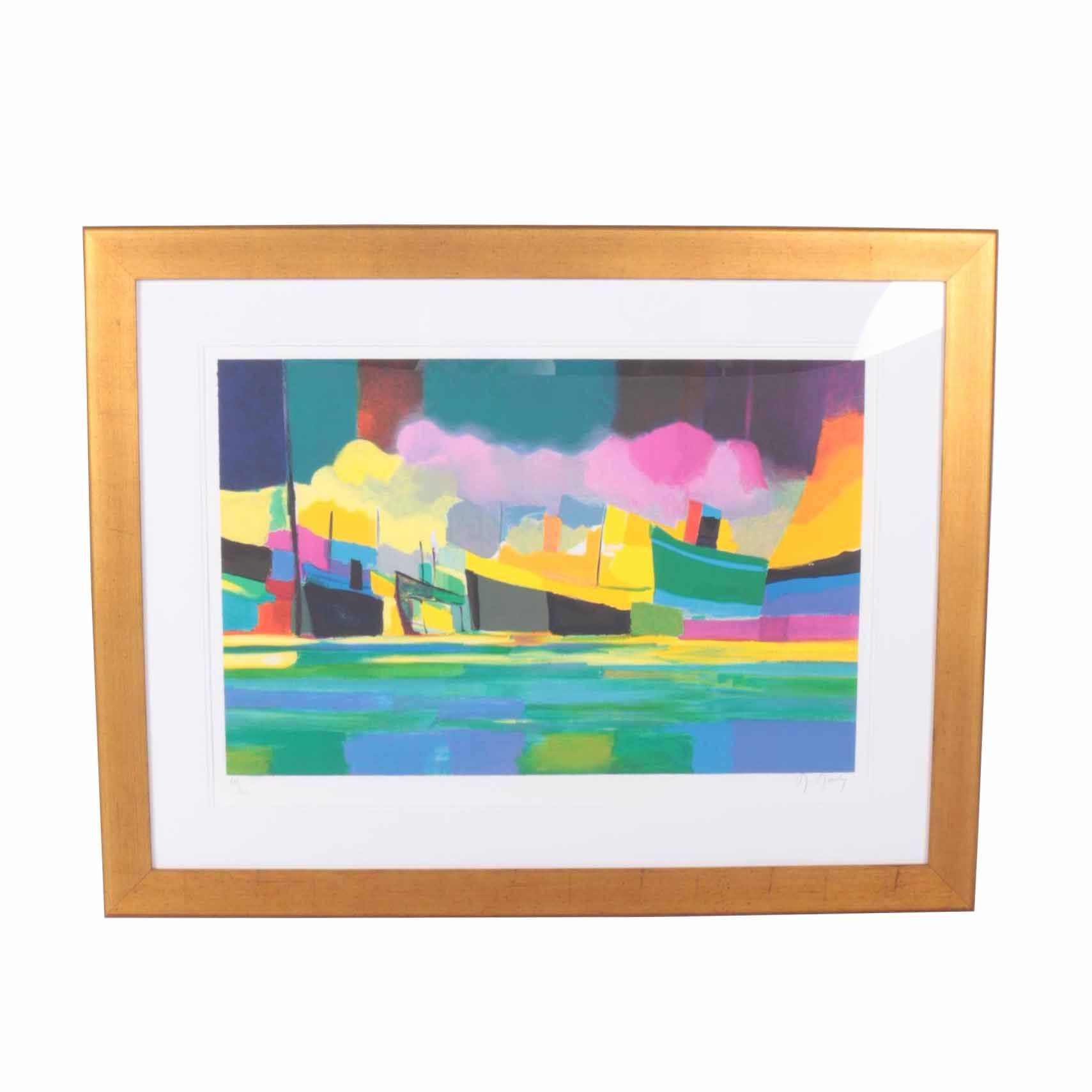 "Marcel Mouly Limited Edition Lithograph on White Woven ""Grand Marine Aux Fumees Roses"""
