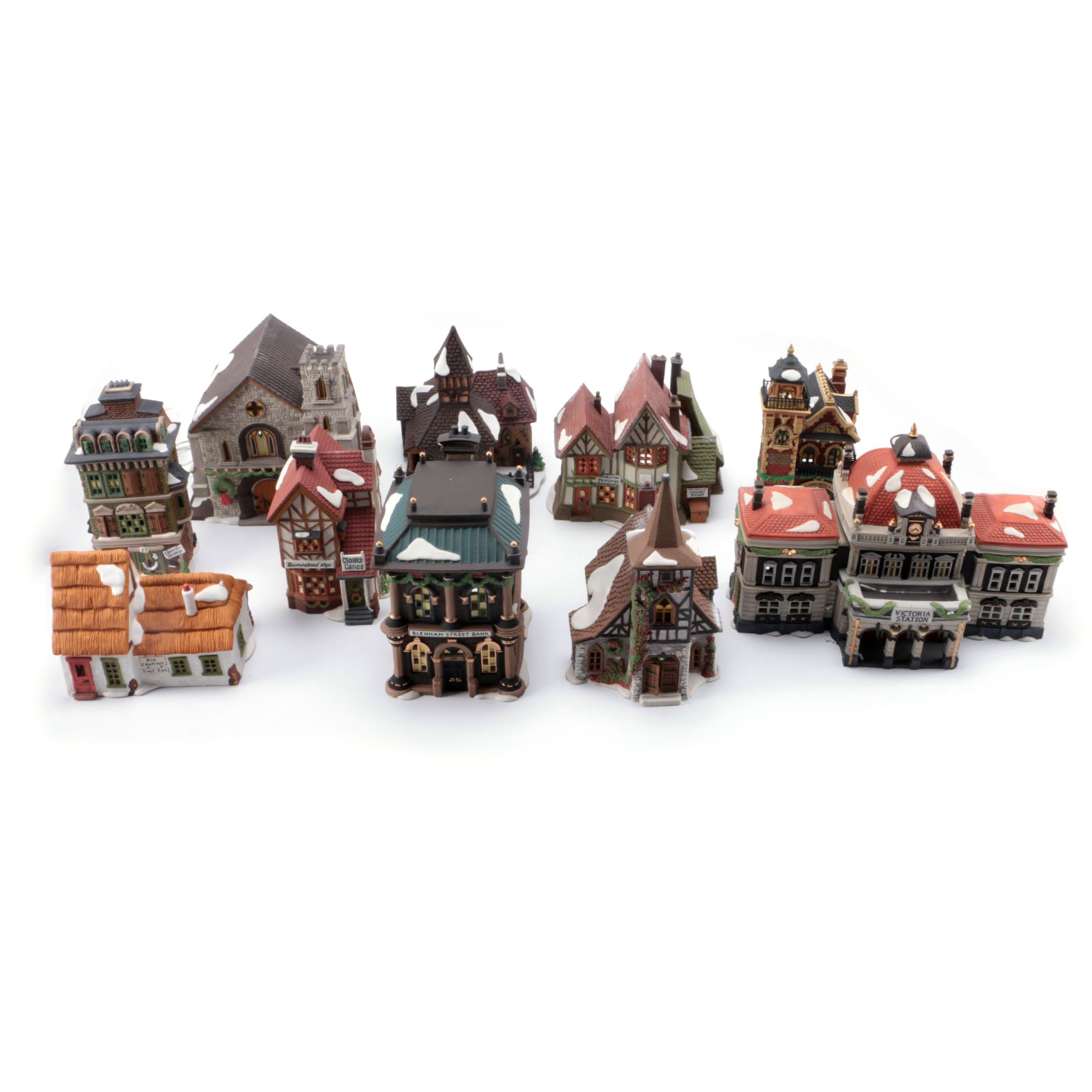 """Deptartment 56 """"Dickens Village"""" Buildings With Lamps"""