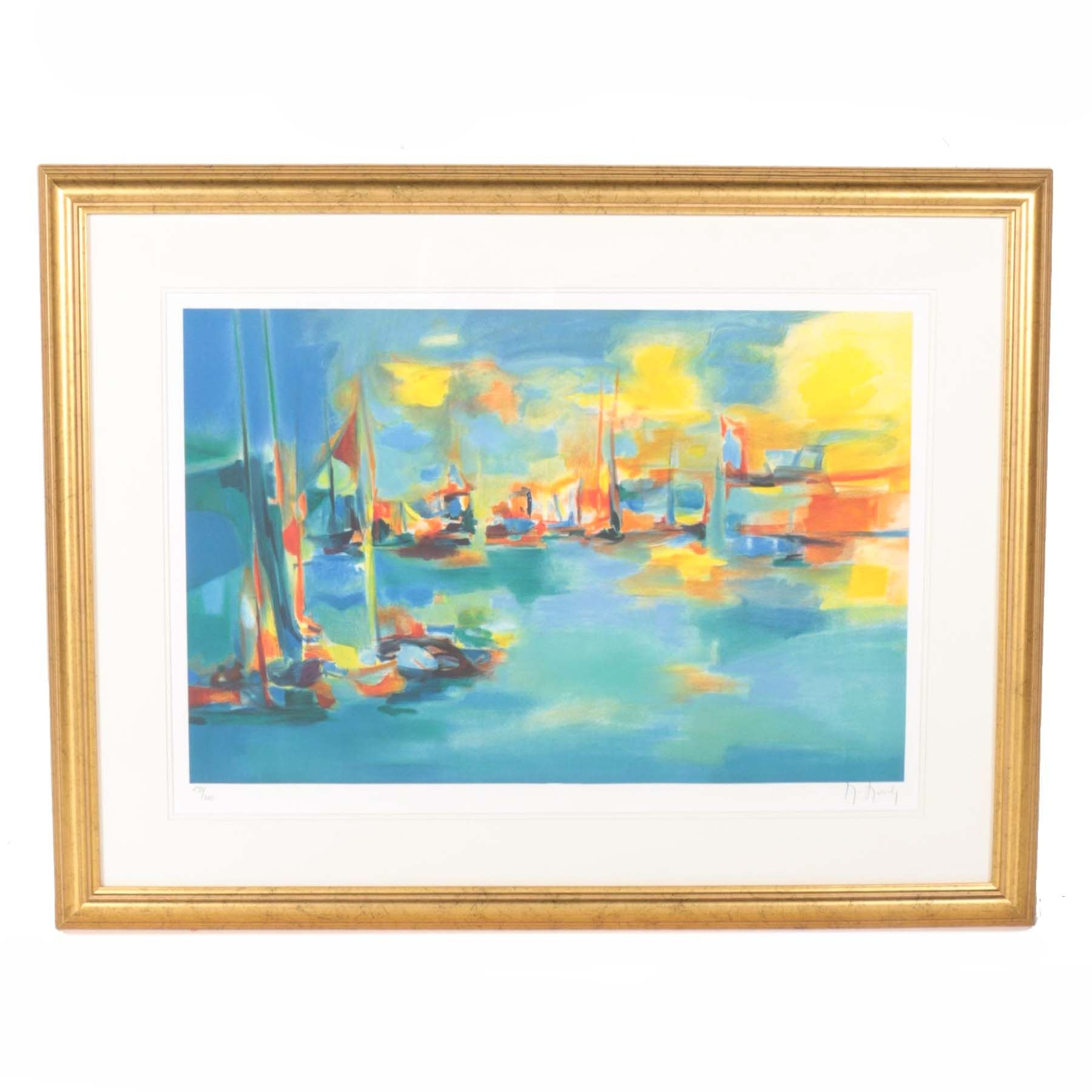Marcel Mouly Limited Edition Lithograph of a Waterscape
