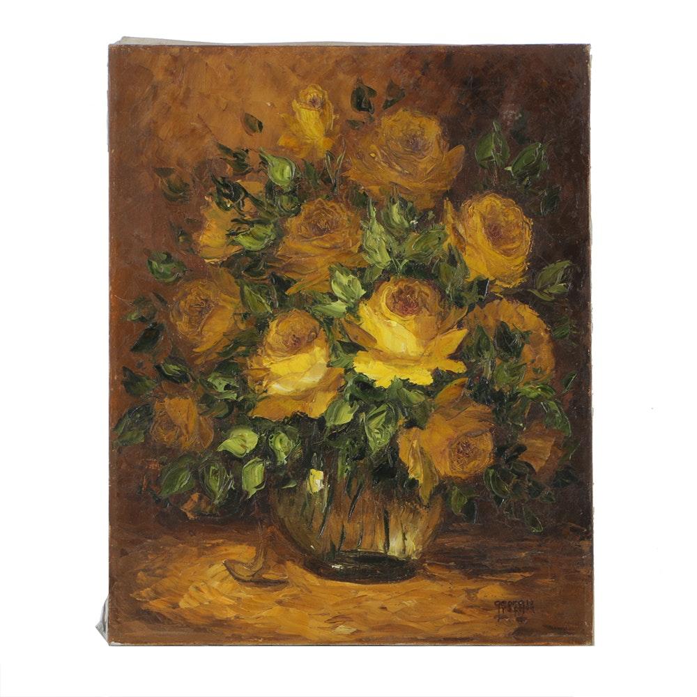Georgia Rafton Oil Painting on Canvas Floral Still Life