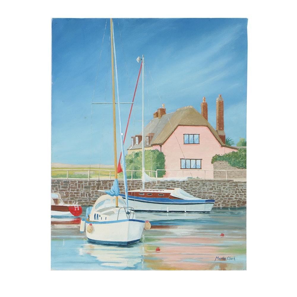 """Martin Clark Oil Painting on Canvas """"Porlock Pink"""""""