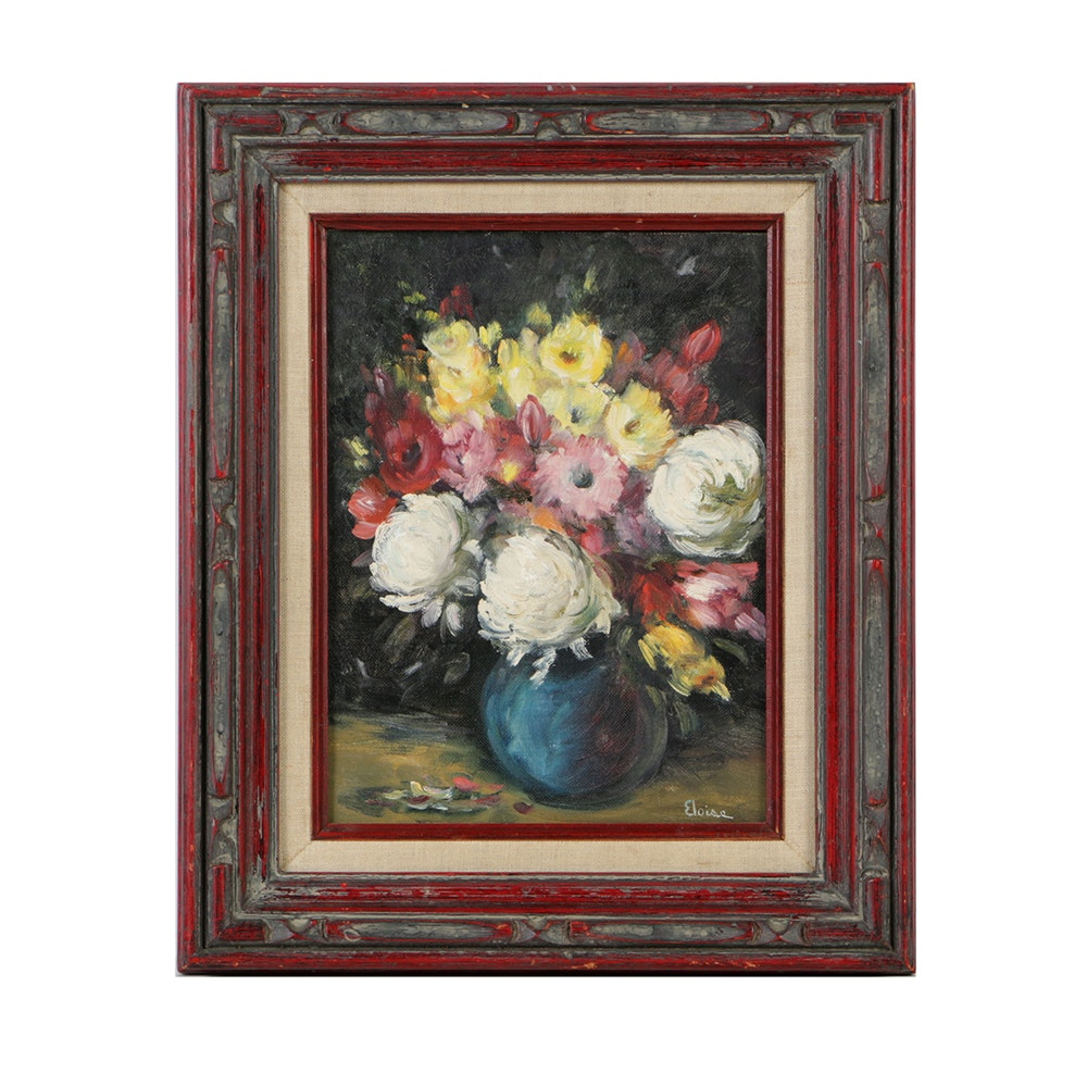 Oil Painting on Board Floral Still Life