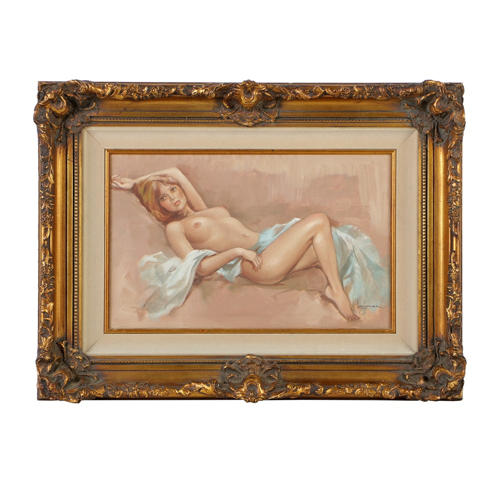 Leo Jansen Hand Embellished Giclee Print on Canvas of Nude Woman