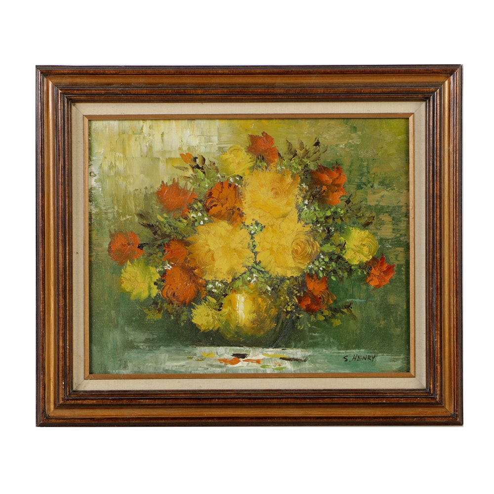 S. Henry Oil Painting on Canvas of Floral Still Life