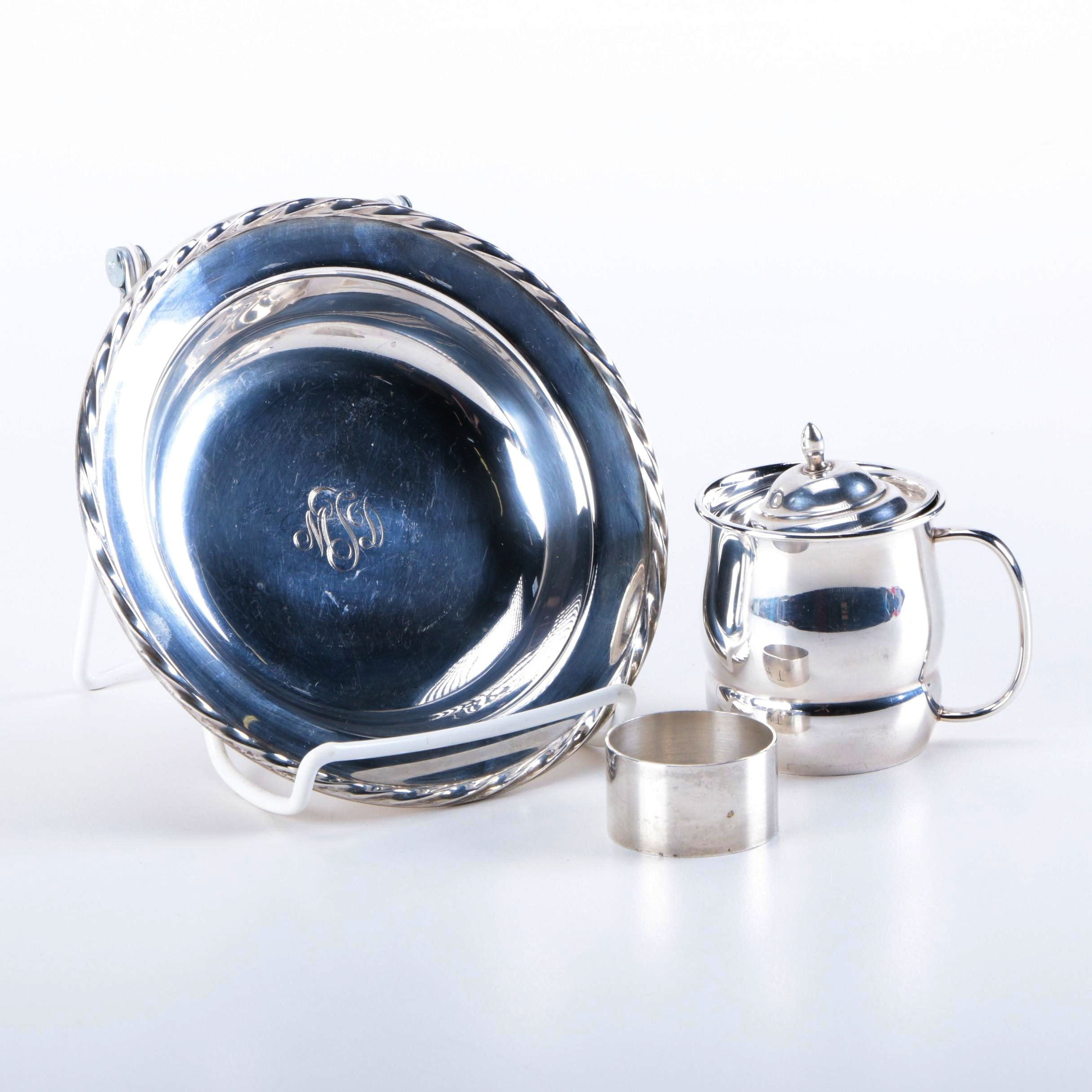 Sterling Silver Towle Dish and Cup With Stieff Napkin Ring