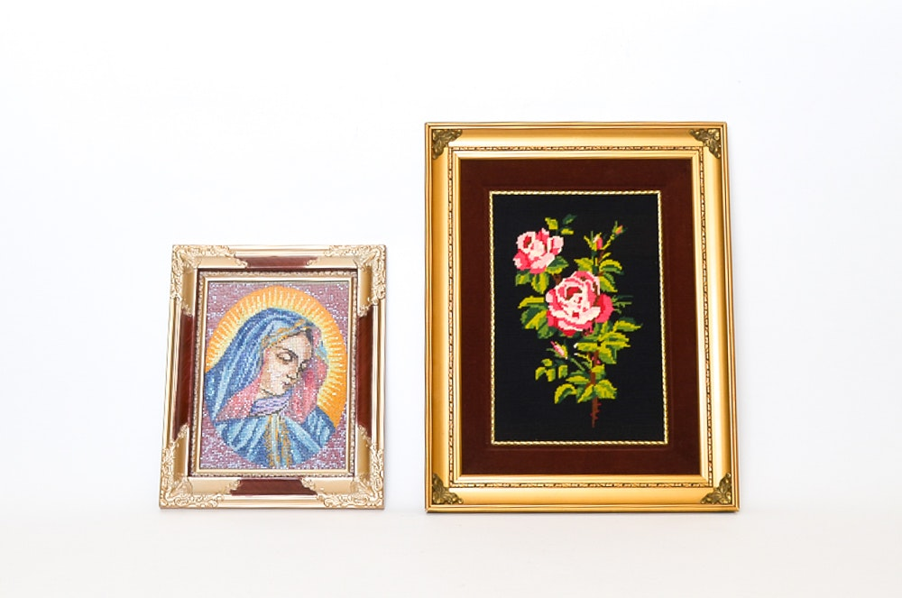 Two Framed Needlepoints including Religious Image