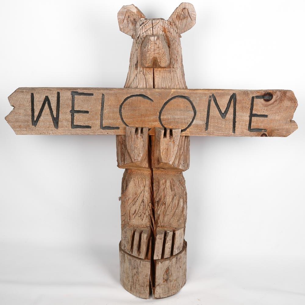 Primitive Carved Bear Sculpture