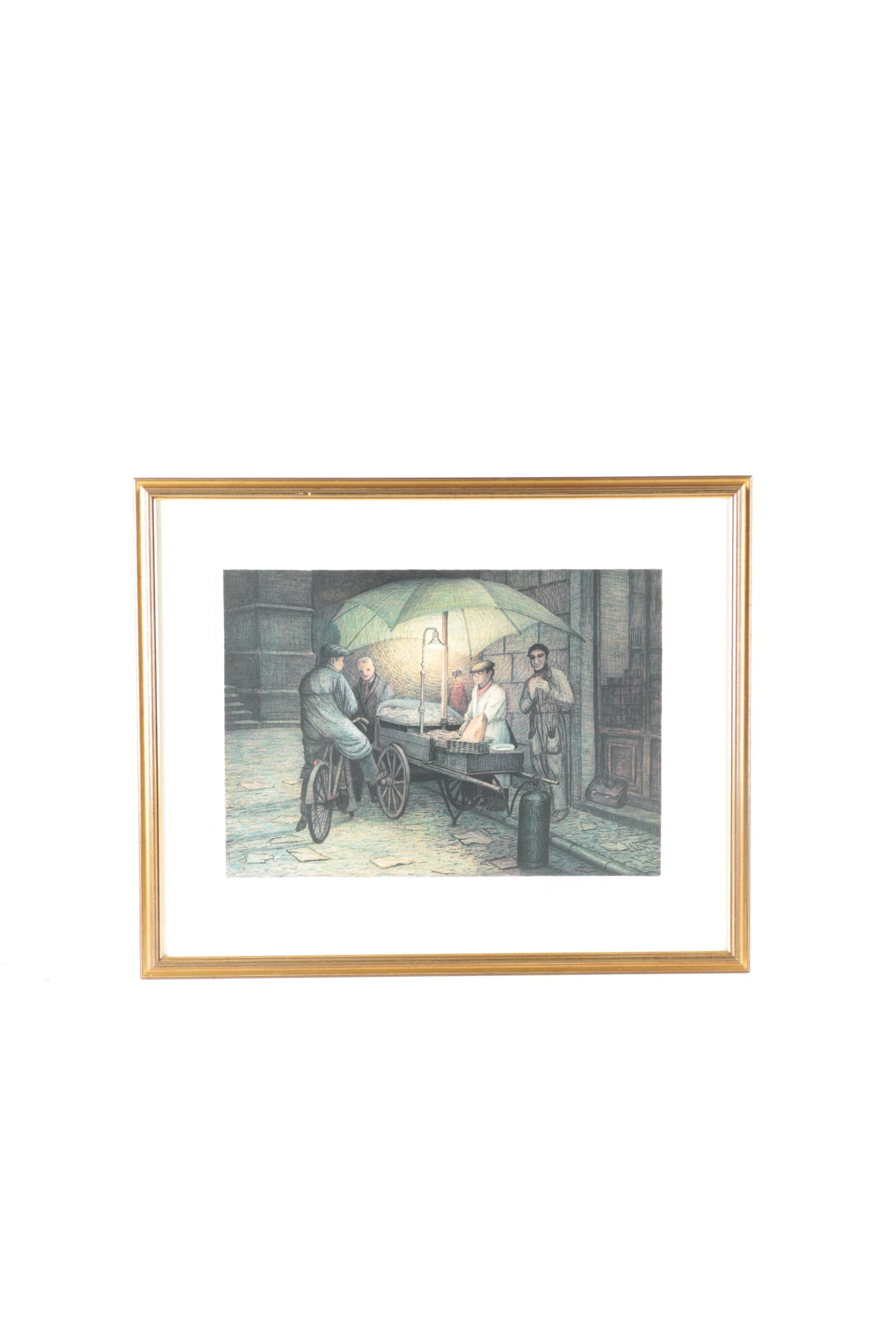 Adelindo Tassi Color Limited Edition Lithograph Of Street