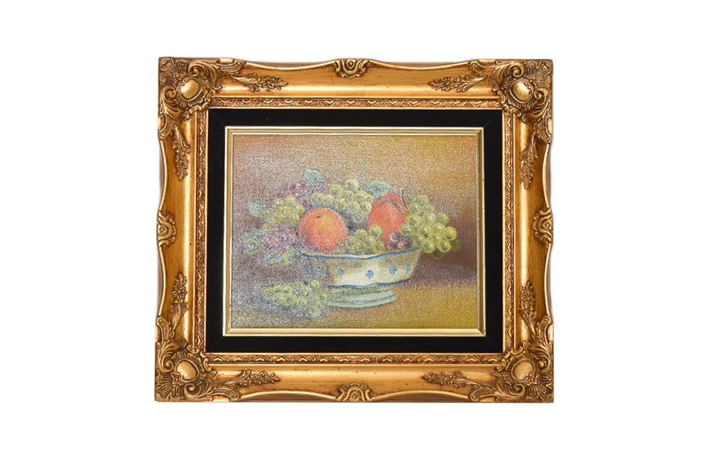 Lucien Oil on Canvas Painting of a Fruit Still Life