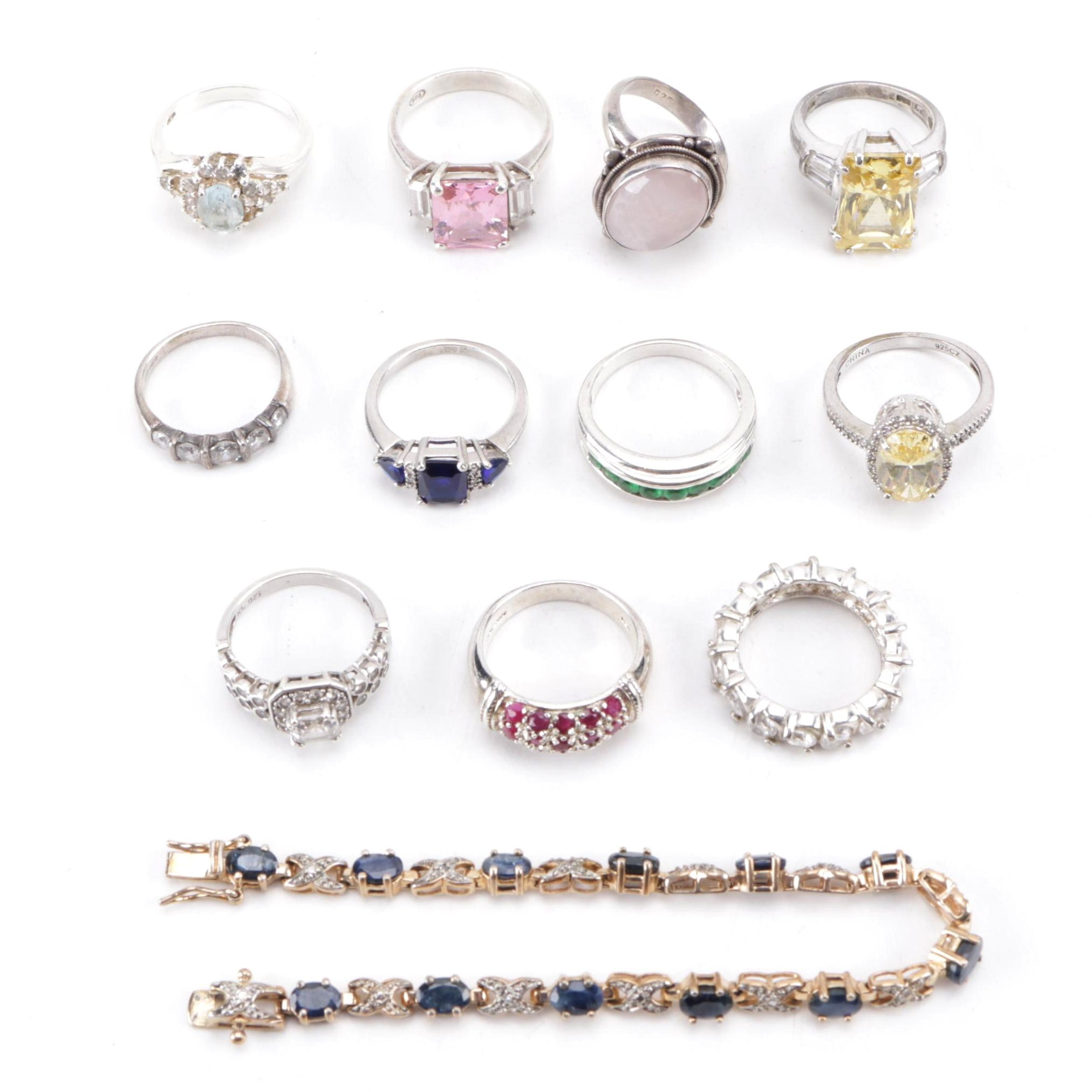 Sterling Silver and Gemstone Rings and Bracelet