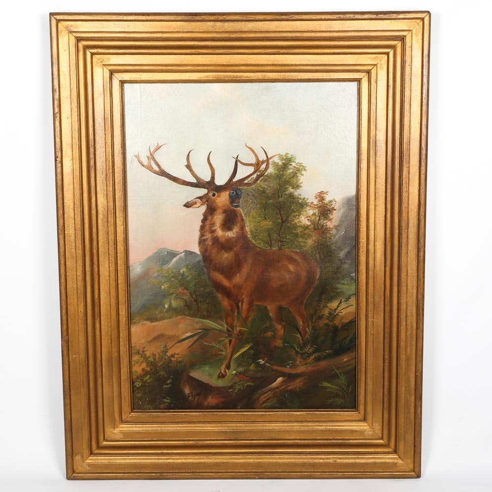 "Vintage Oil Painting on Board ""Call of the Wild"""