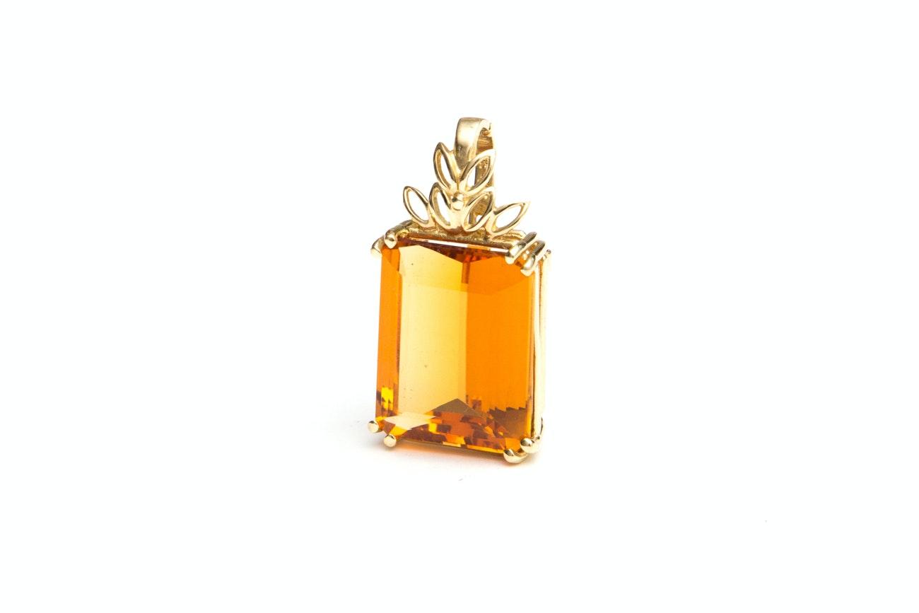 14K Yellow Gold 23.30 CTS Citrine Pendant