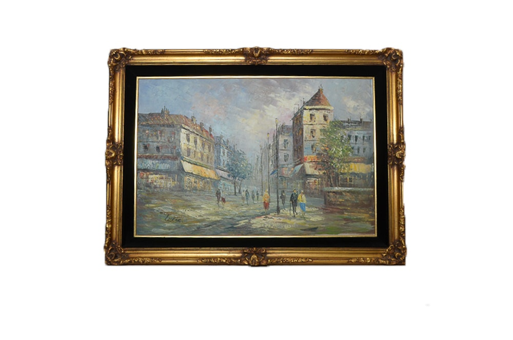 Lucia Oil on Canvas Painting of a European Cityscape