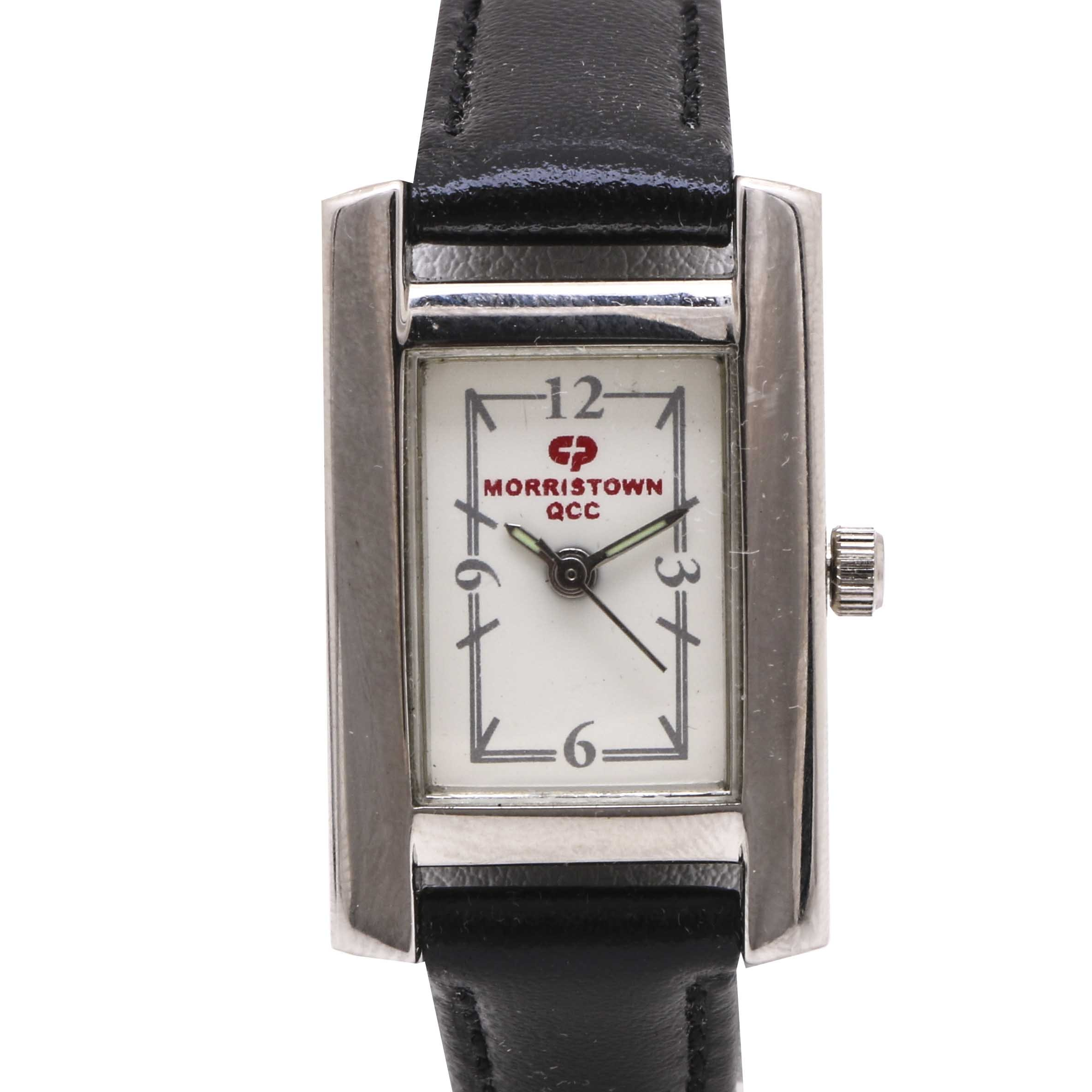 Morristown QCC Black Leather Strap Wristwatch