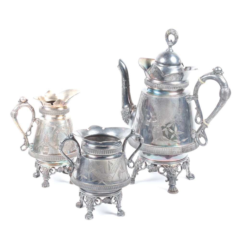 Antique Silver Plate Tea Service by Derby Silver Co.