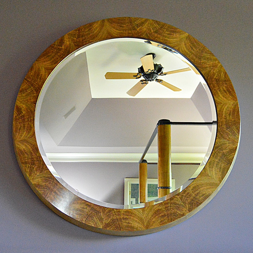 Henredon Art Deco Style Round Beveled Wall Mirror With Burl Frame