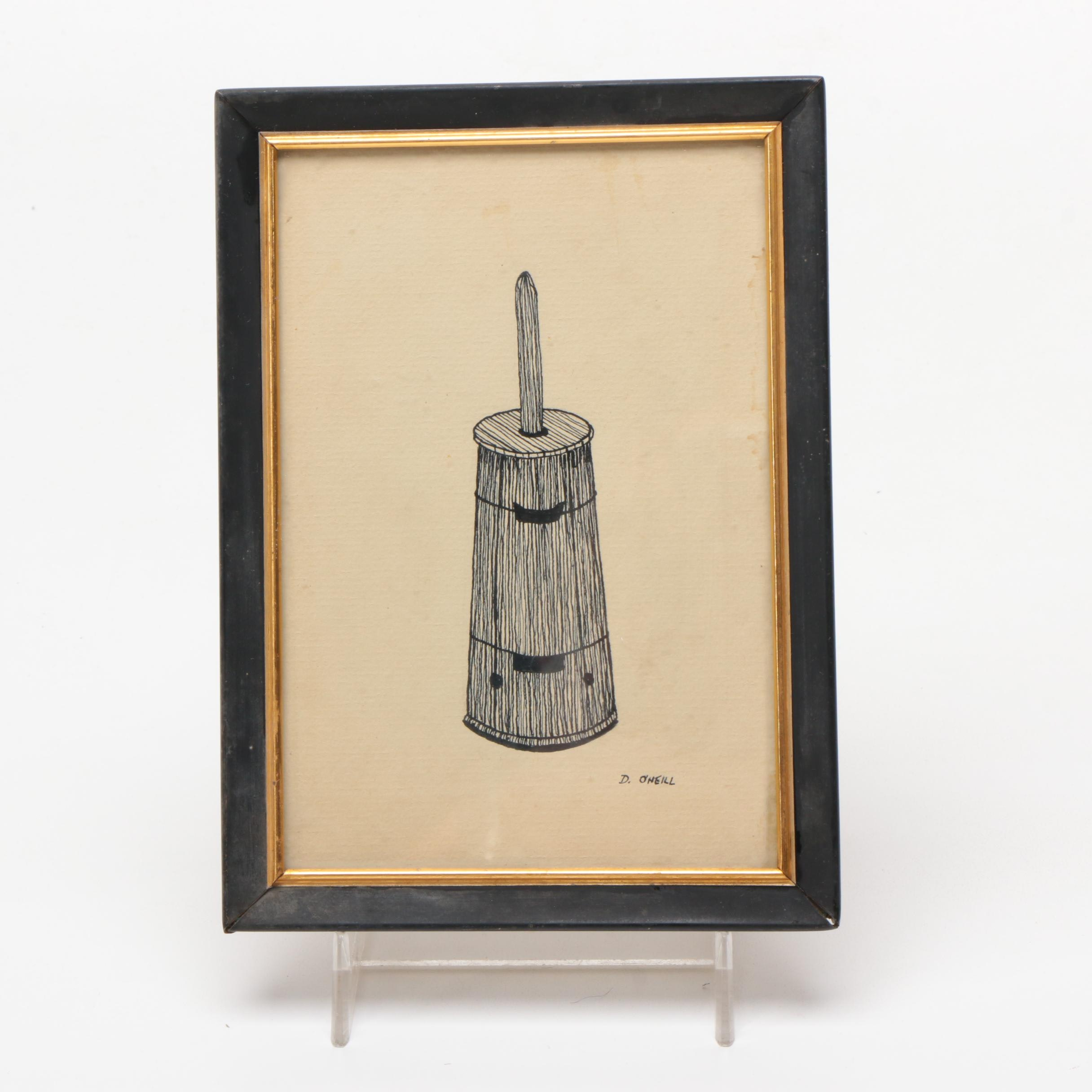 Ink Drawing of a Butter Churn by D. O'Neill